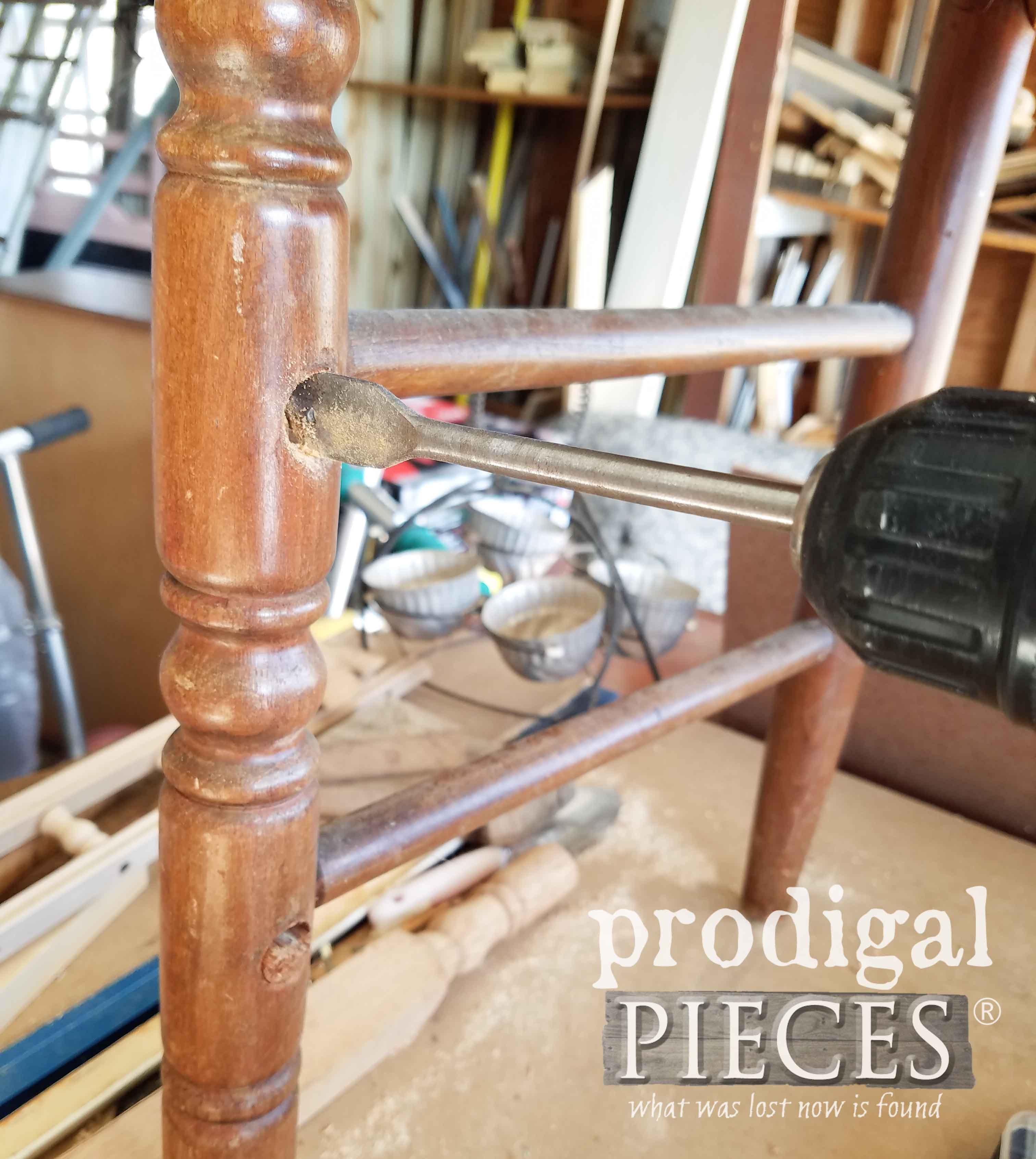 Drilling Chair Leg with Spade Bit for Broken Chair Repair | prodigalpieces.com