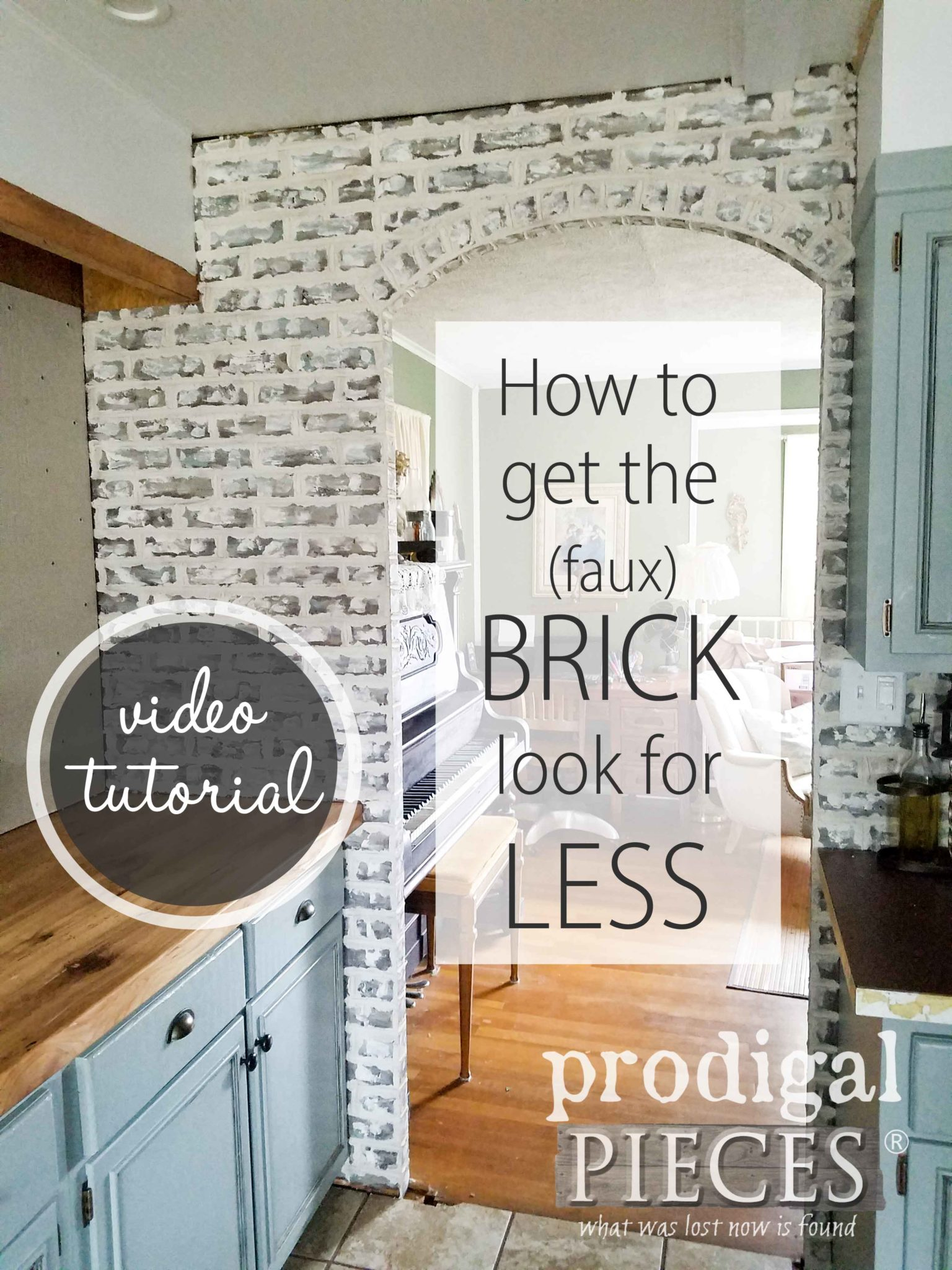 Create the look of whitewashed (German schmear) brick and spend half the money. Easy video tutorial by Larissa of Prodigal Pieces | prodigalpieces.com
