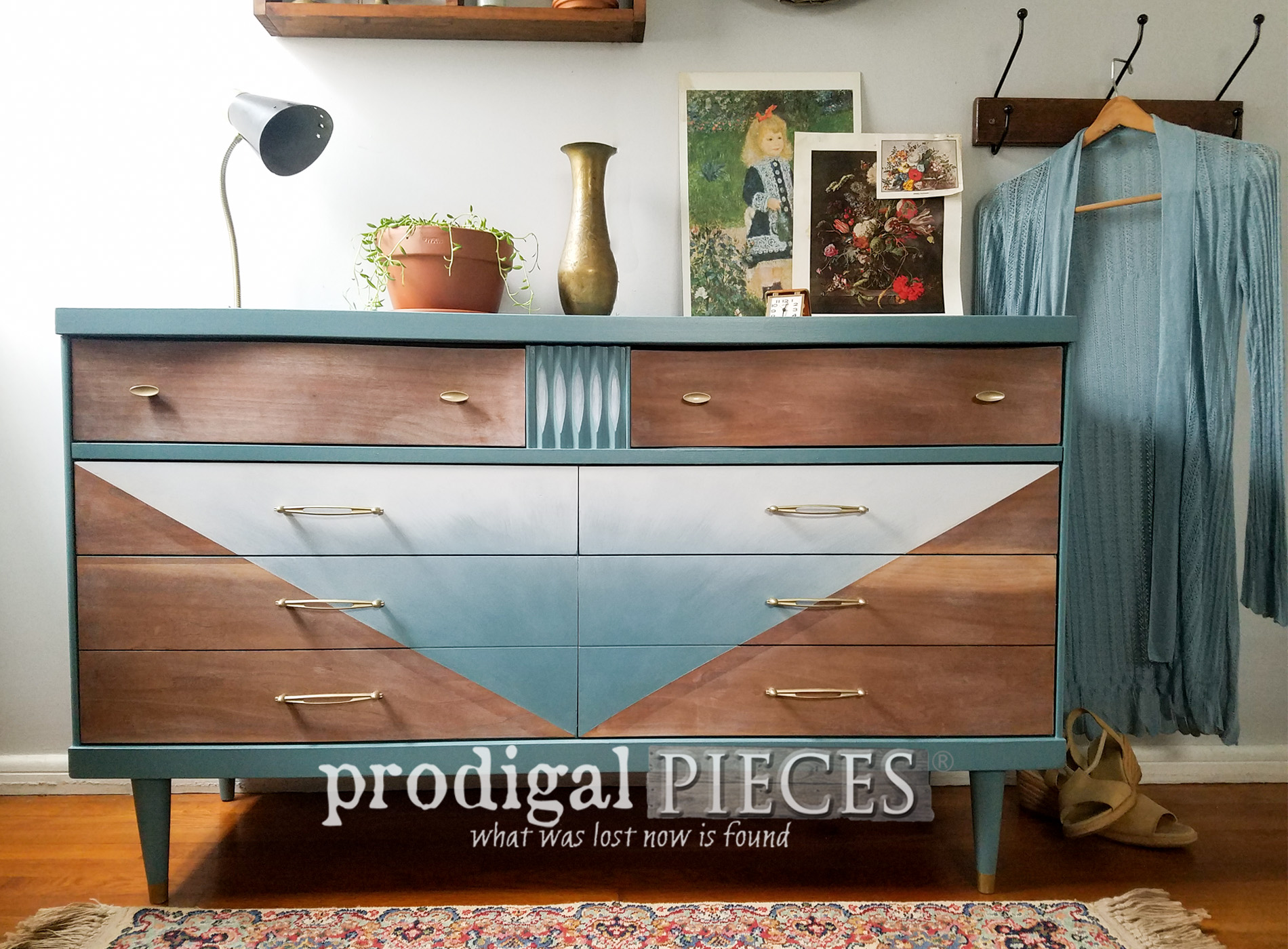Featured Boho Mid Century Modern Dresser by Larissa of Prodigal Pieces | prodigalpieces.com