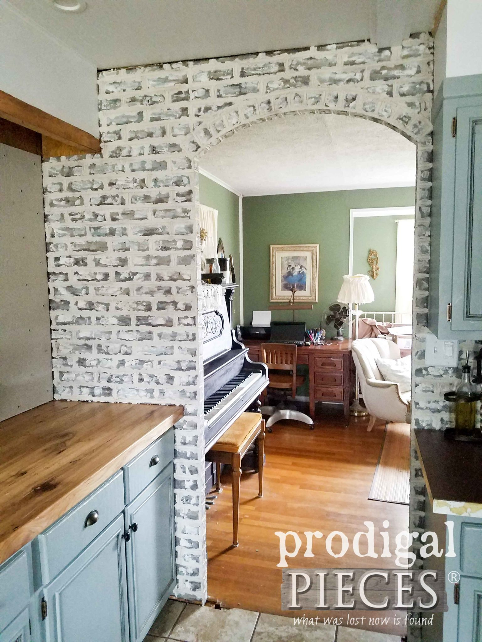 Finished Faux Brick Doorway with Tutorial by Larissa of Prodigal Pieces | prodigalpieces.com