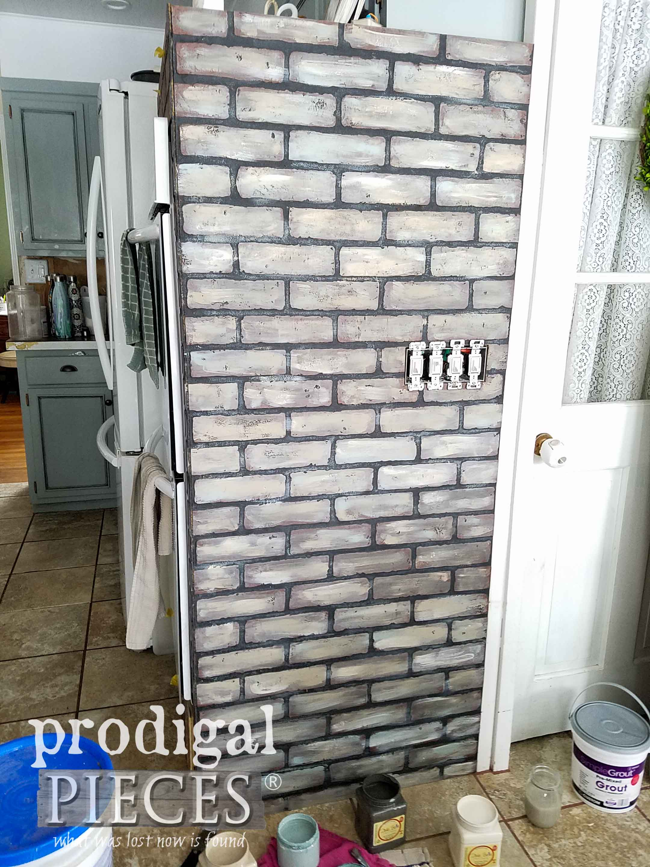 First Coat of DIY Faux Brick Effect by Prodigal Pieces | prodigalpieces.com