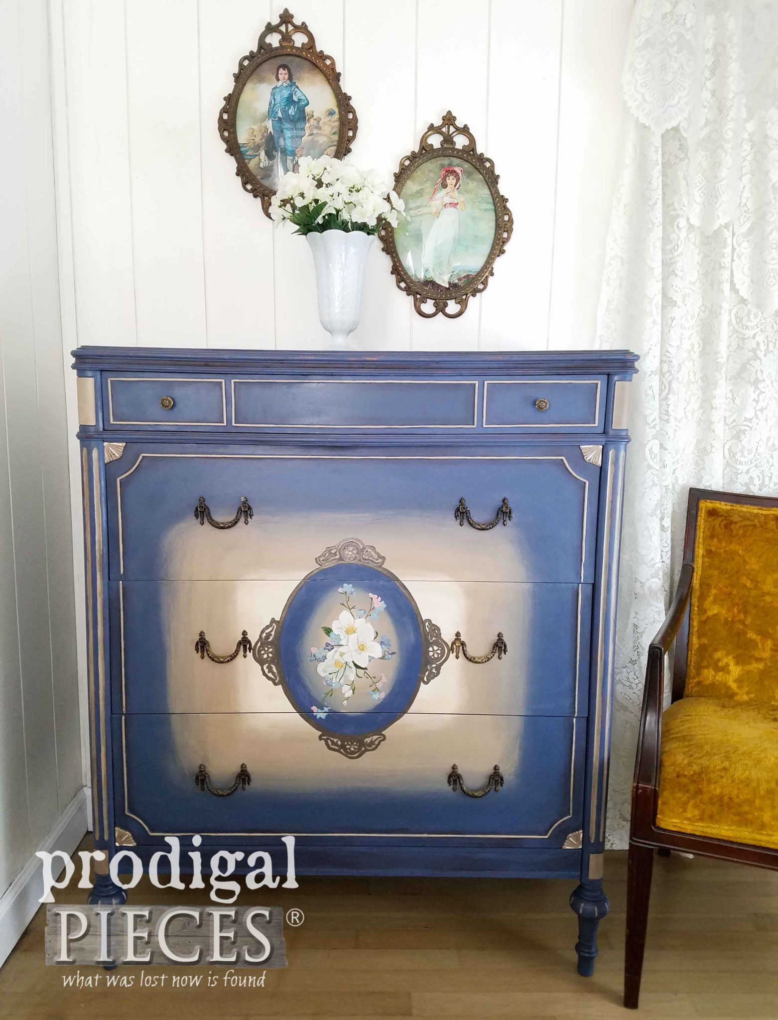 Striking Hand-Painted Antique Chest of Drawers in Yankee Blue by Larissa of Prodigal Pieces | prodigalpieces.com