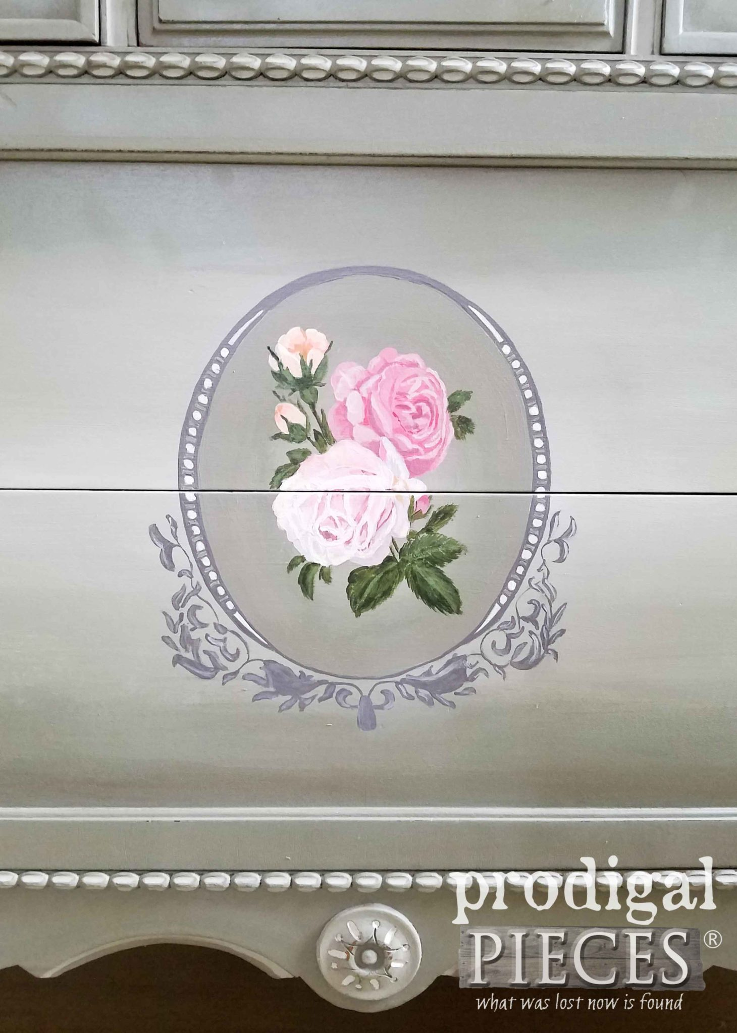 Hand-Painted Roses on Antique Dresser by Larissa of Prodigal Pieces | prodigalpieces.com