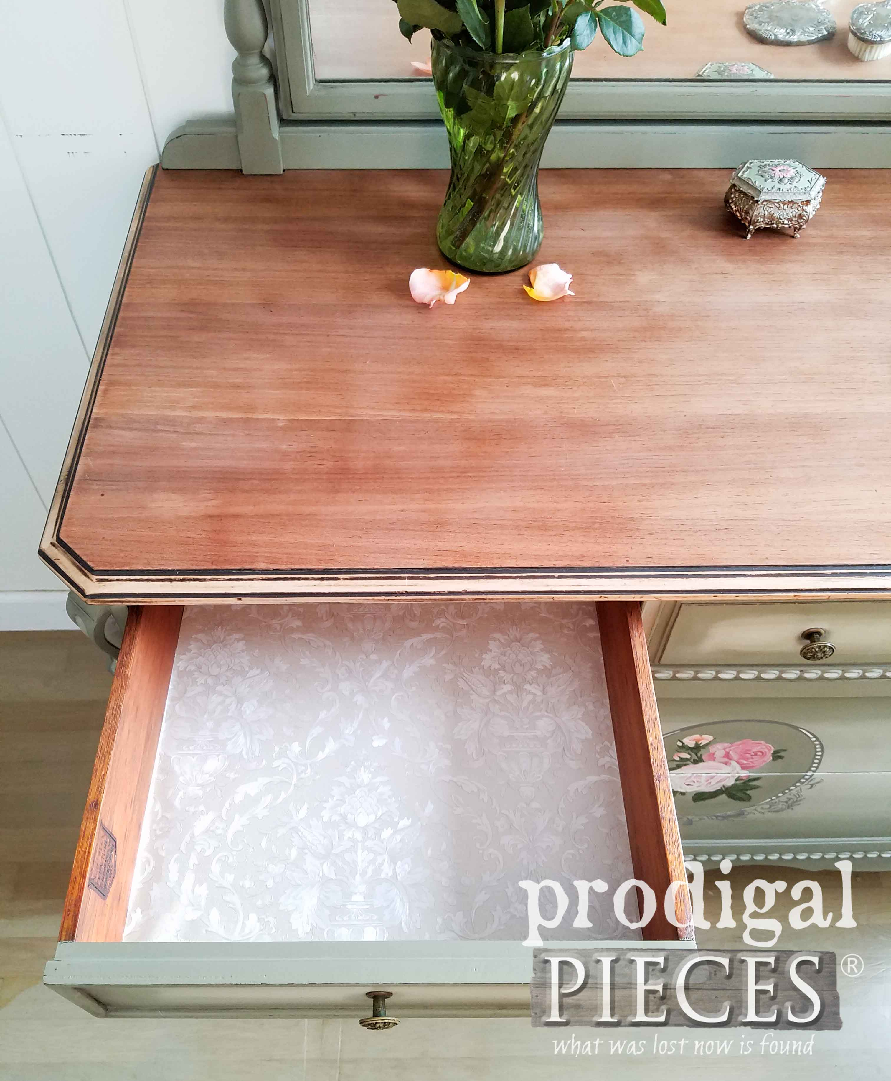 Lining Dresser Drawers with Vintage Embossed Wallpaper by Prodigal Pieces | prodigalpieces.com