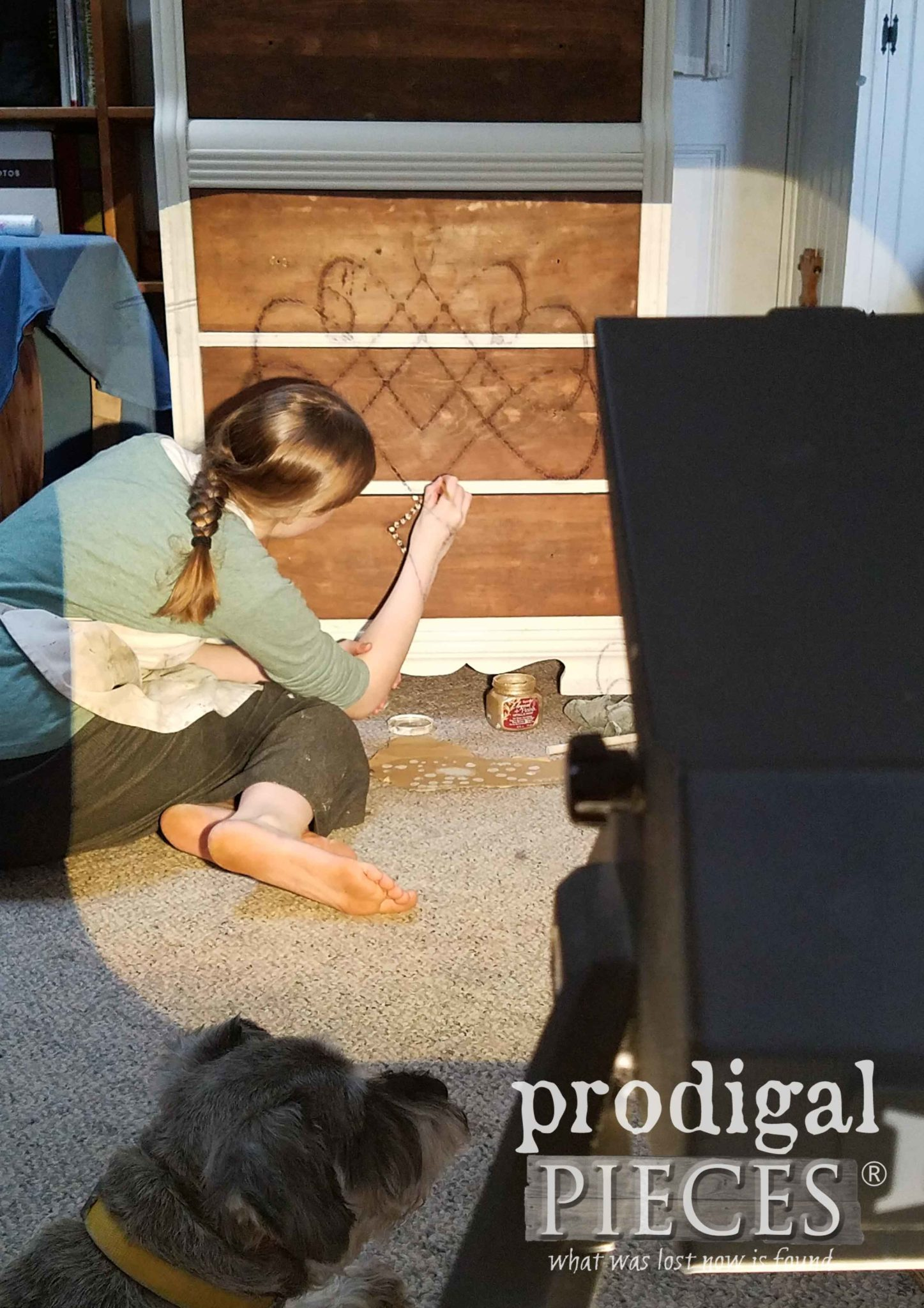 Projecting Filigree Graphic onto Chest of Drawers with School Projector   prodigalpieces.com