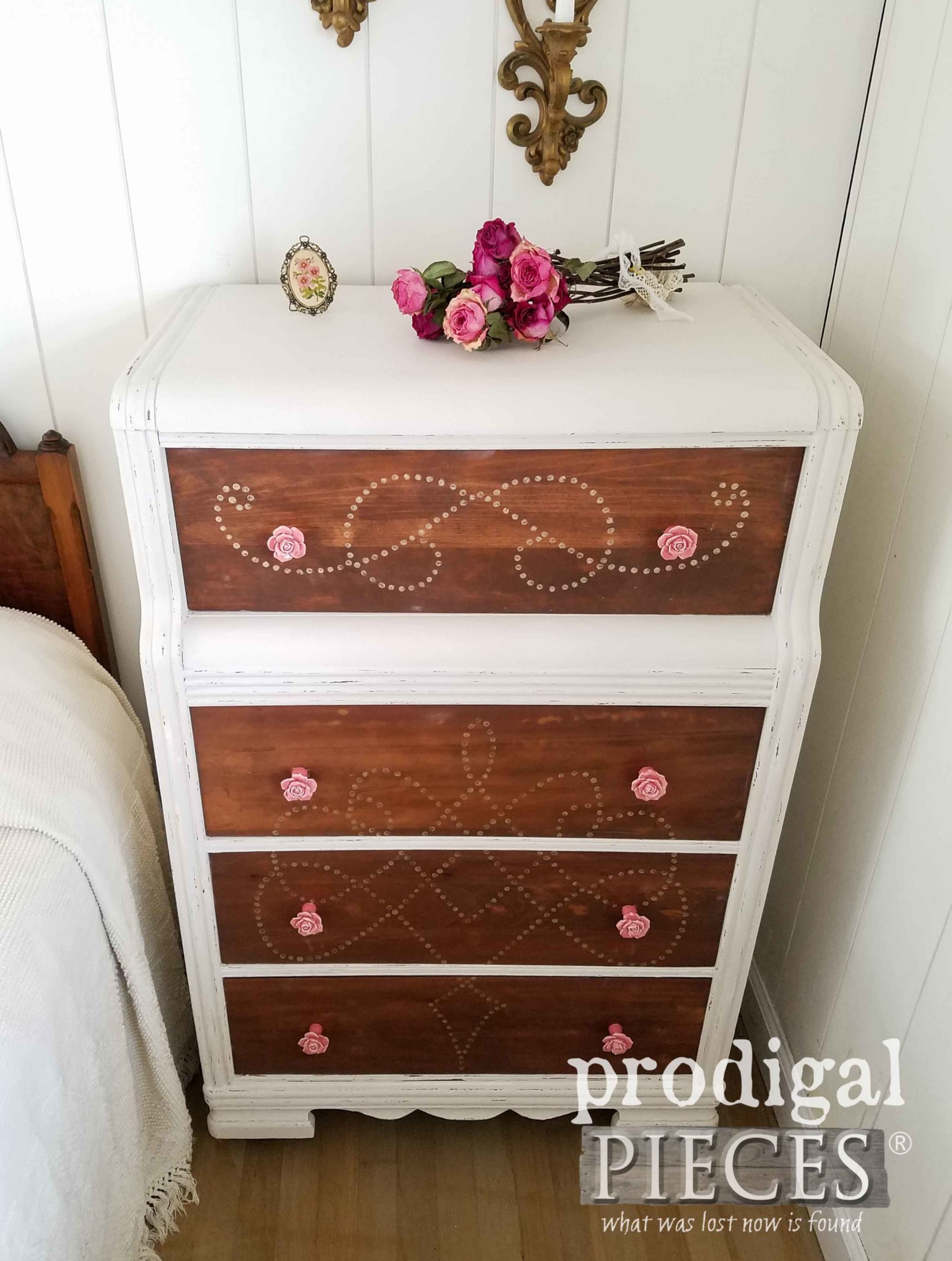 Art Deco Chest of Drawers with Rose Drawer Knobs by Prodigal Pieces | prodigalpieces.com
