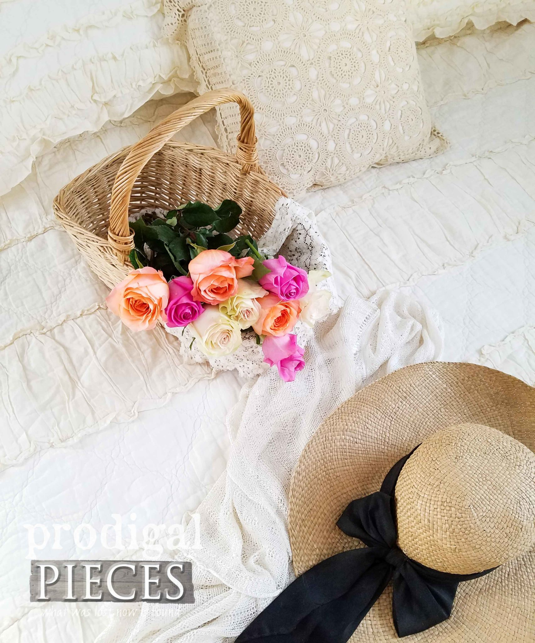 Basket of Roses on Beautiful Ruffle Quilt by Larissa of Prodigal Pieces | prodigalpieces.com