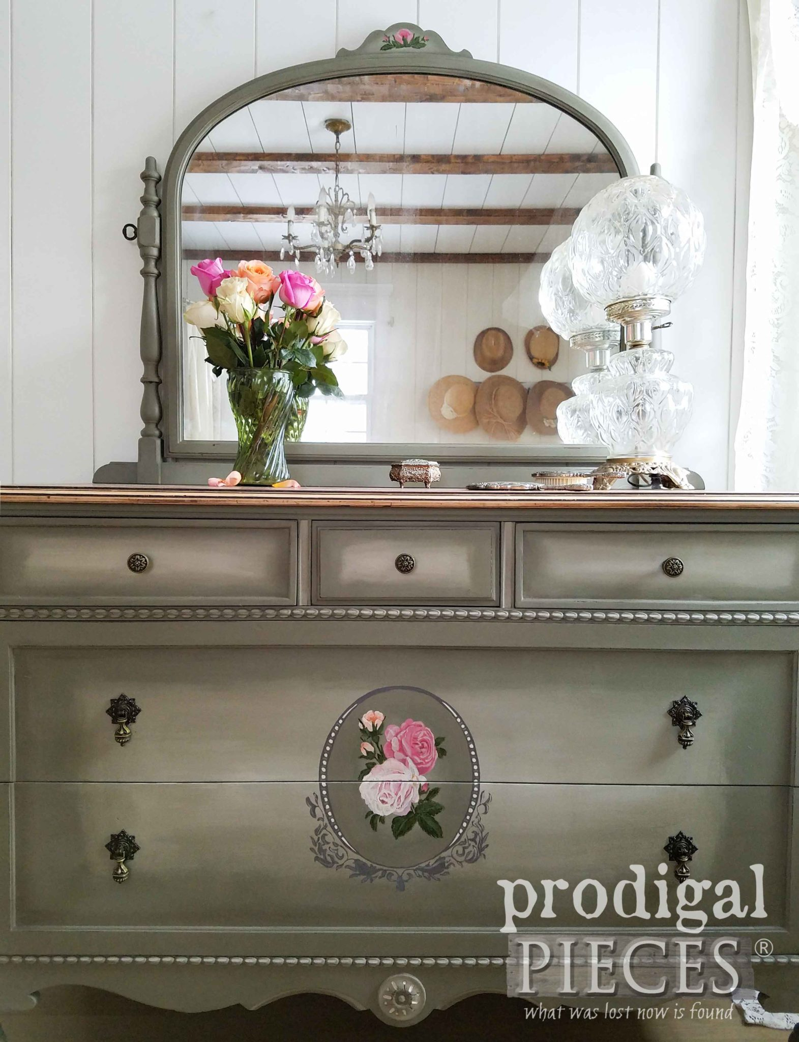 Soft Green Hand-Painted Antique Dresser by Larissa of Prodigal Pieces | prodigalpieces.com