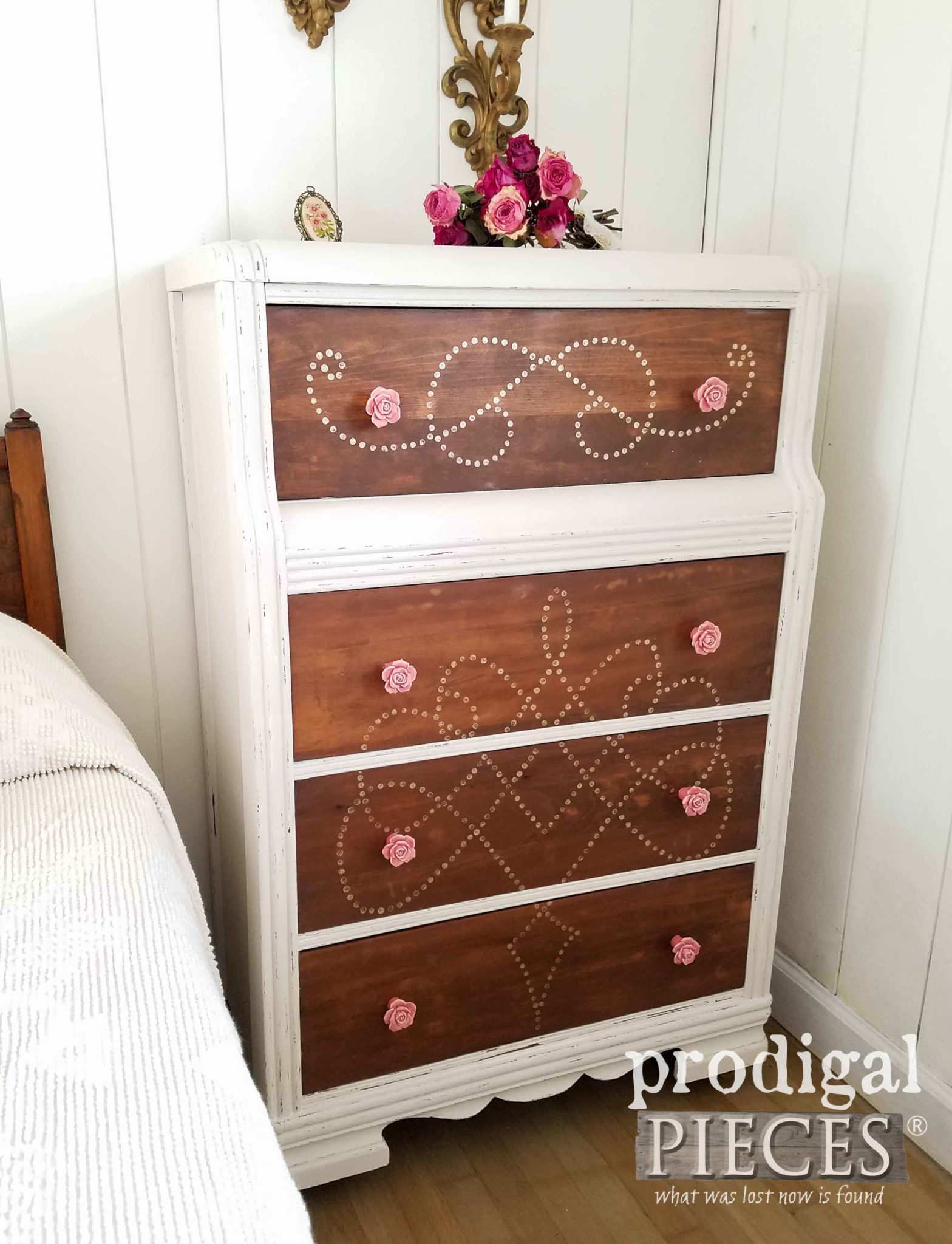 Beautiful Vintage Waterfall Chest of Drawers Made New by Teen Girl | Prodigal Pieces | prodigalpieces.com