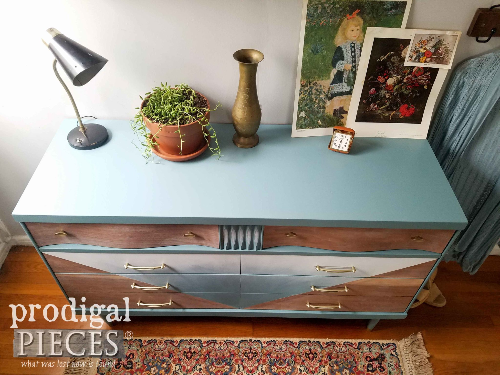 Vintage Mid Century Modern Dresser Top in Blue by Larissa of Prodigal Pieces | prodigalpieces.com