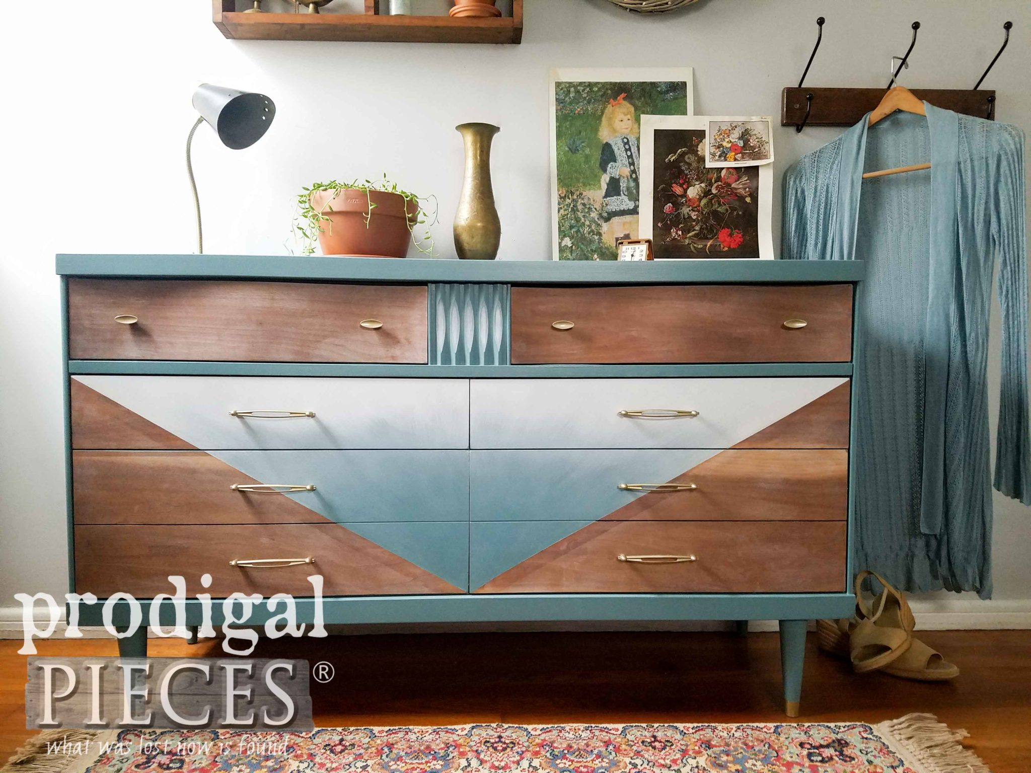 Retro Style Mid Century Modern Dresser by Bassett gets Boho Vibe by Larissa of Prodigal Pieces | prodigalpieces.com