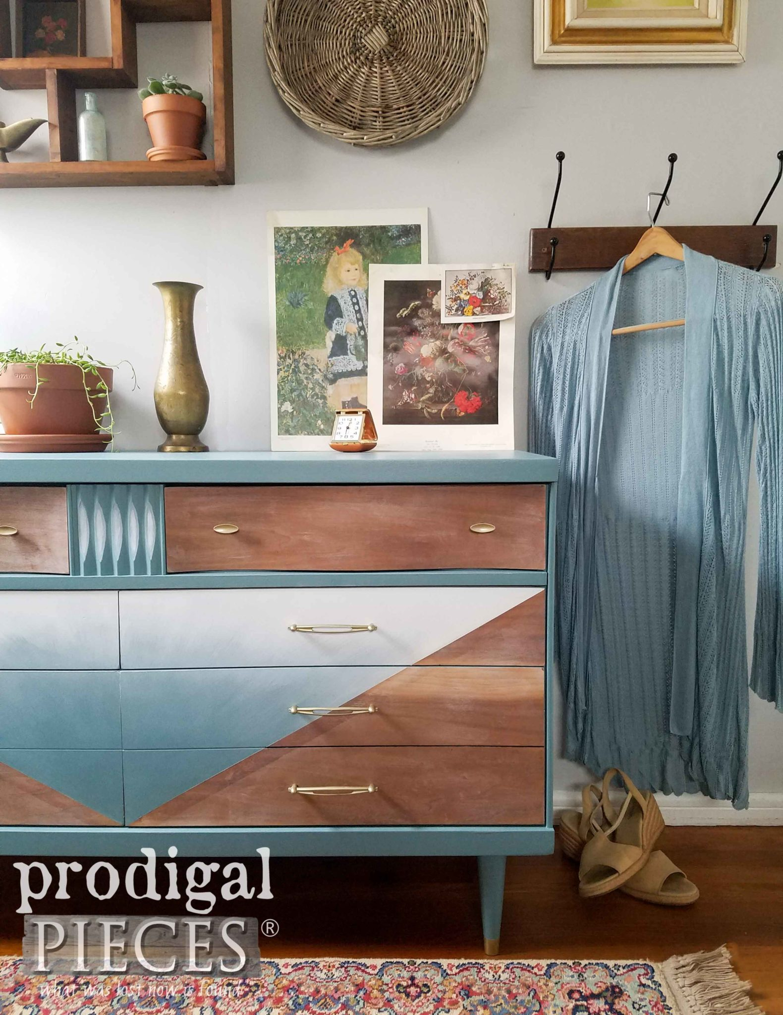Boho Chic Style Mid Century Modern Bassett Dresser for Bedroom Decor by Larissa of Prodigal Pieces | prodigalpieces.com