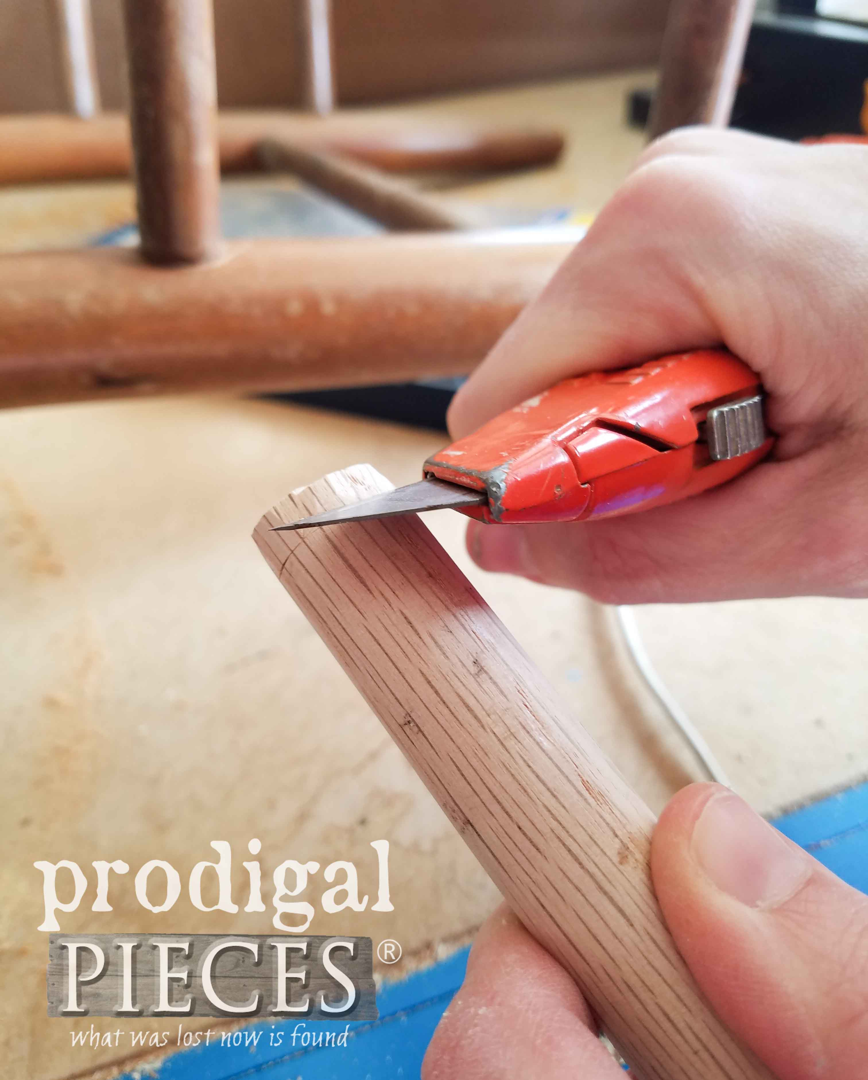 Whittling Dowel for Broken Chair Repair | prodigalpieces.com