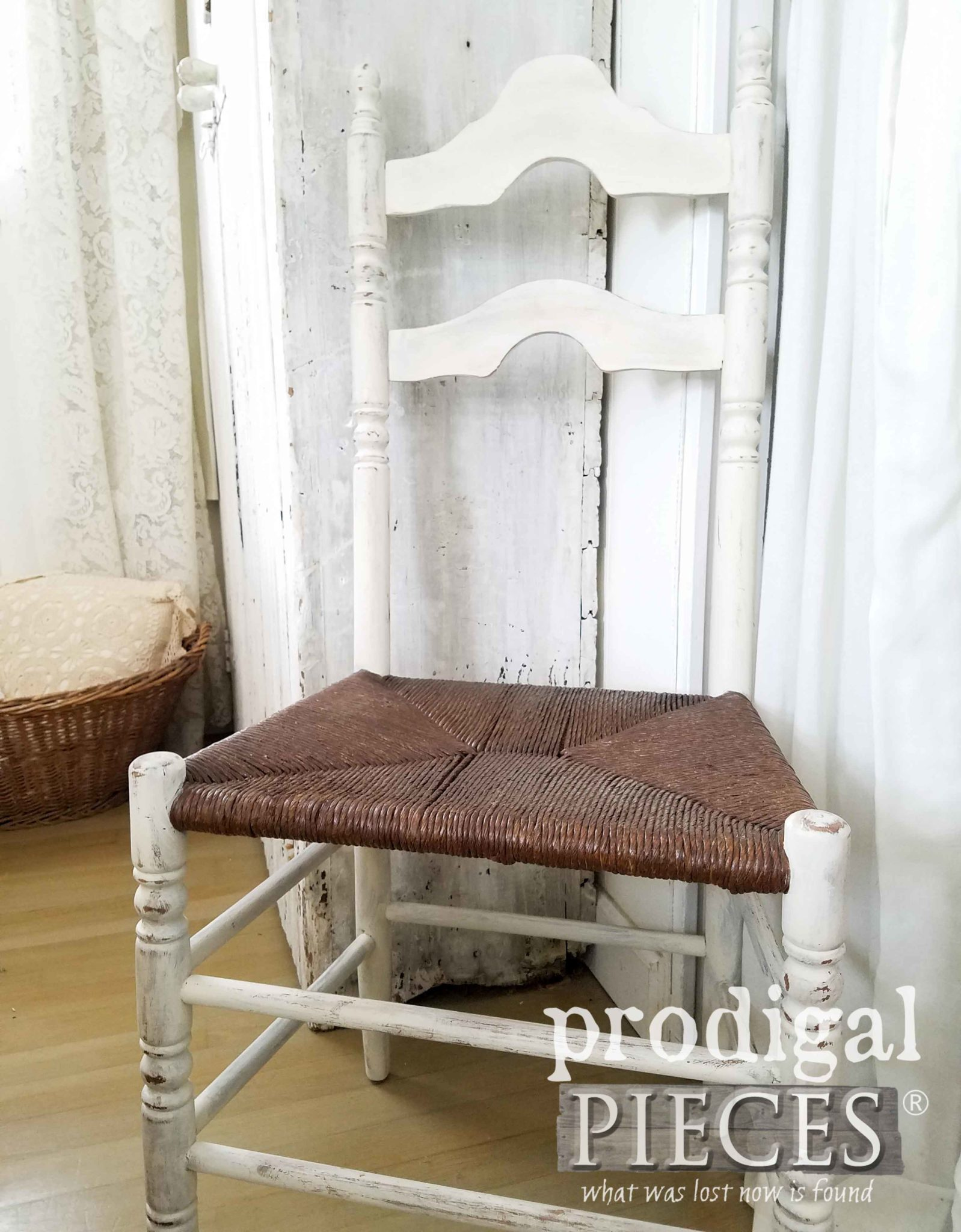 Farmhouse Style Antique Chair with Rush Seat by Prodigal Pieces | prodigalpieces.com