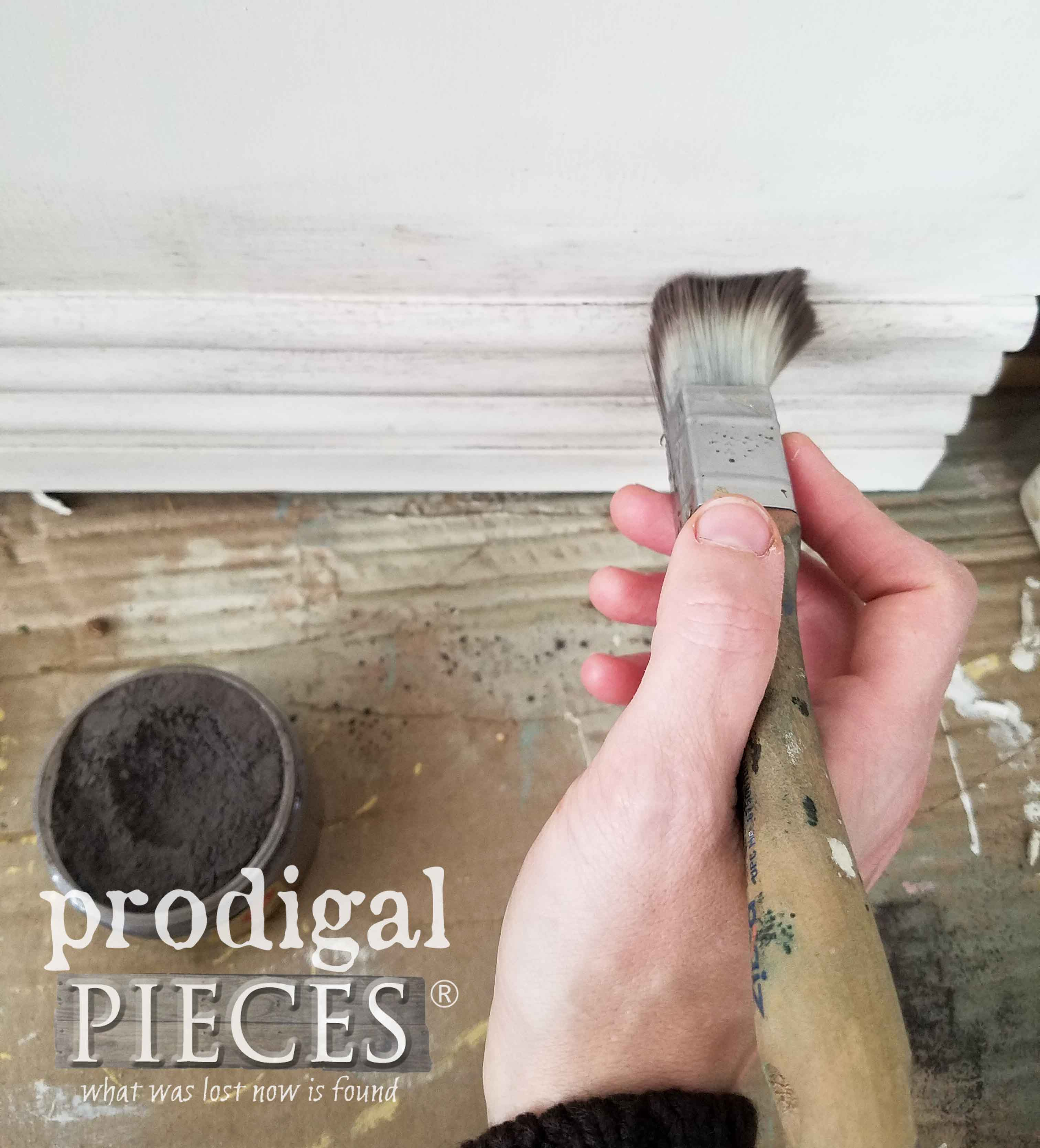 Applying Dixie Belle Dirt to Waterfall Hope Chest to Create Shadows | prodigalpieces.com
