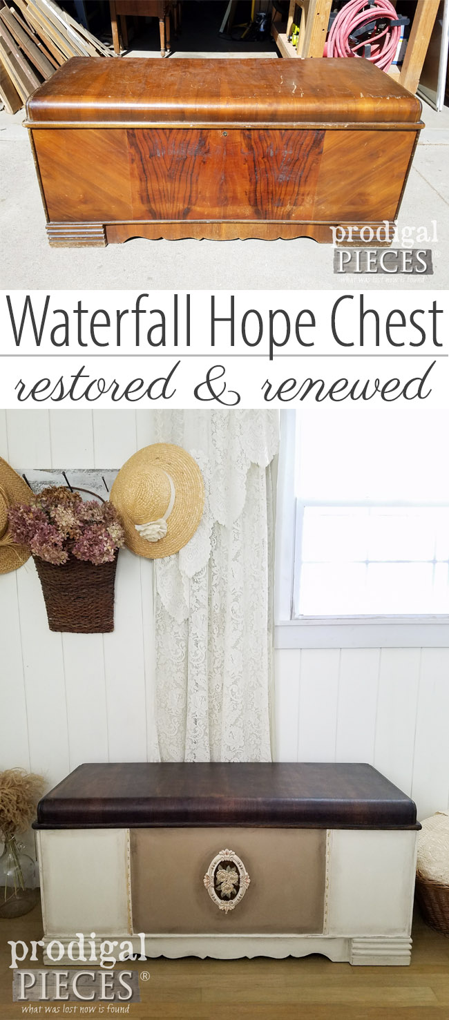 From dingy and dated to beautiful antique, this vintage Art Deco waterfall hope chest is made new by Larissa of Prodigal Pieces | Get the DIY details at prodigalpieces.com