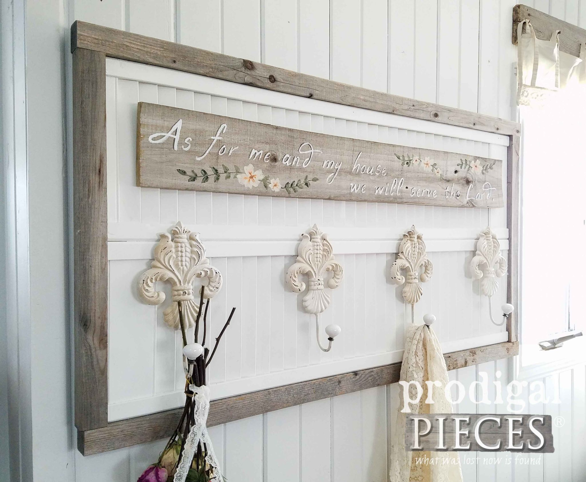 As for me and my house we will serve the Lord. Joshua 24:15 Farmhouse Coat Rack by Larissa of Prodigal Pieces | prodigalpieces.com