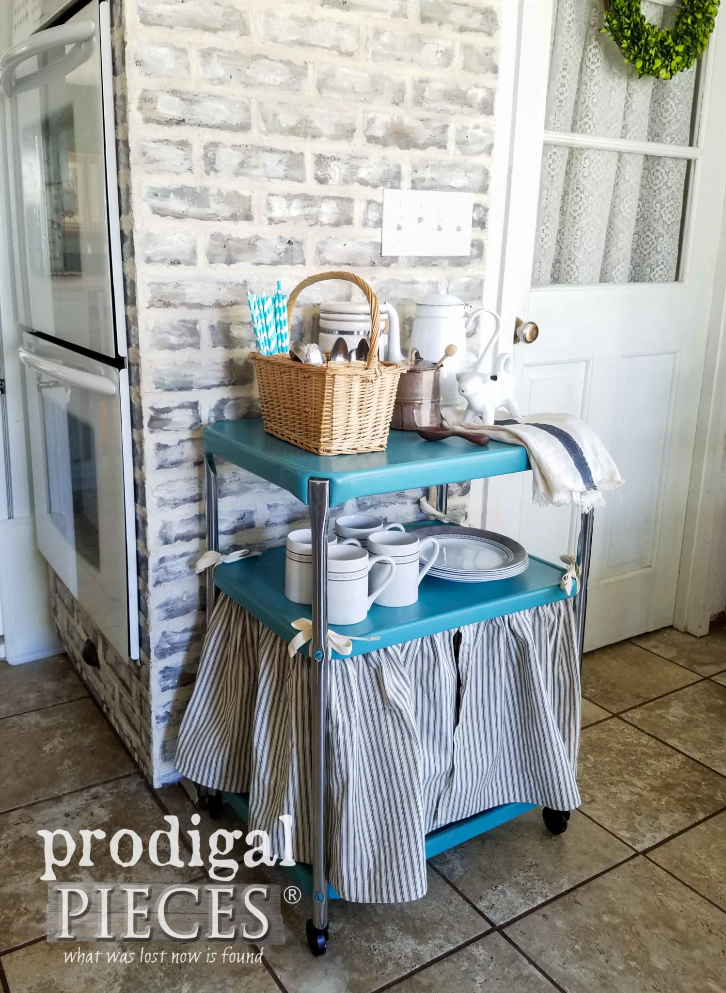 Adorable Vintage Cosco Cart with Dust Ruffle and Storage Baskets for Kitchen, Bathroom, Laundry, Crafts, and Bedroom. Available at Prodigal Pieces | prodigalpieces.com
