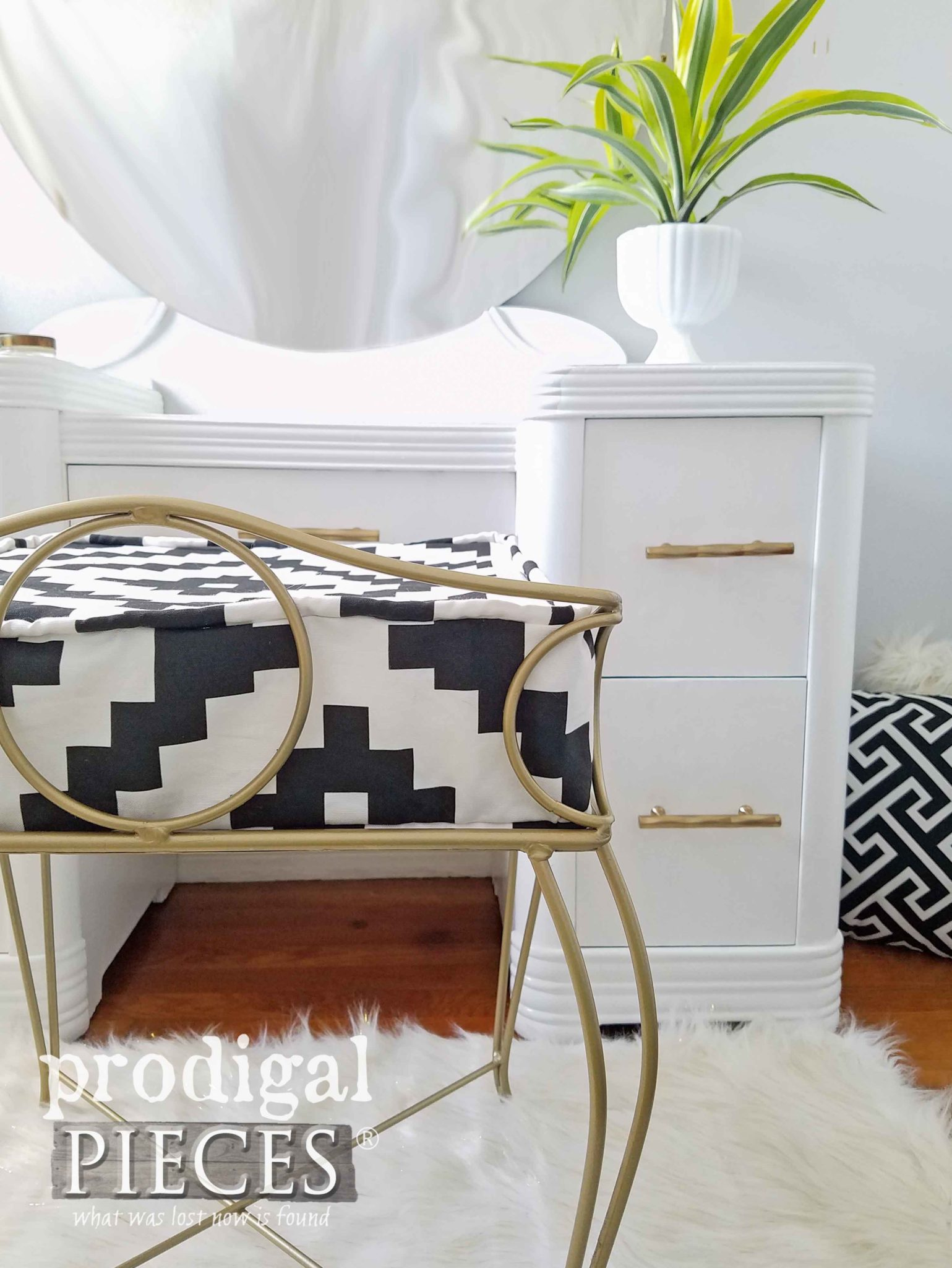 Boho Chic Bedroom Decor with this Vintage Art Deco Vanity Restored by Larissa of Prodigal Pieces | prodigalpieces.com