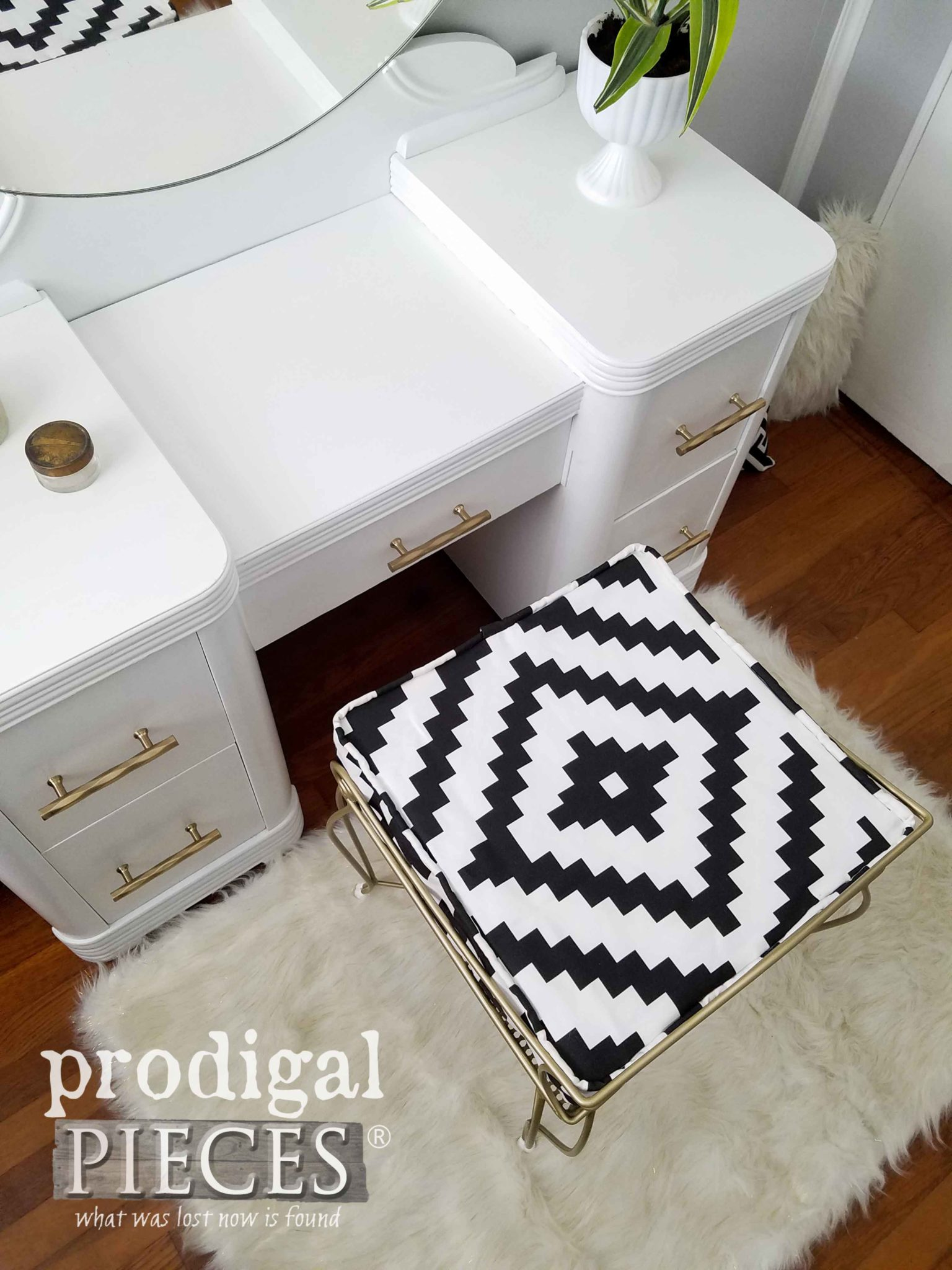 Black and White Aztec Boho Upholstery for Art Deco Vanity by Larissa of Prodigal Pieces | prodigalpieces.com