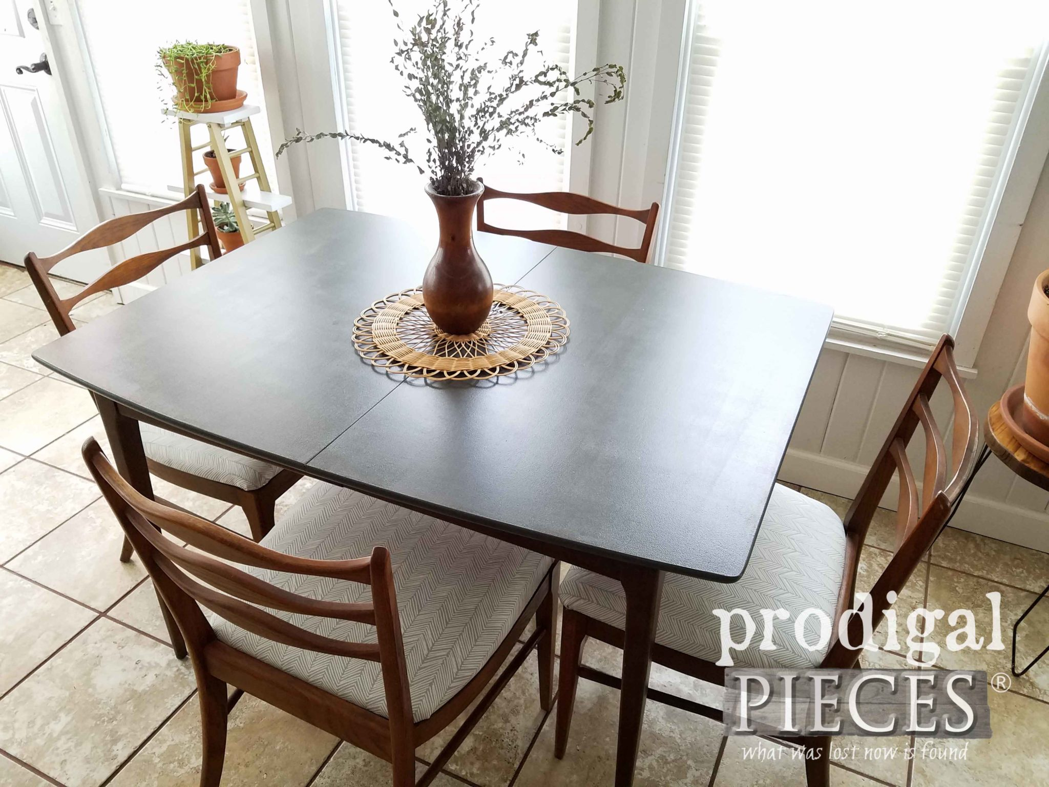 Boho Chic Mid Century Modern Dining Table set with Upholstered Chairs by Larissa of Prodigal Pieces | prodigalpieces.com