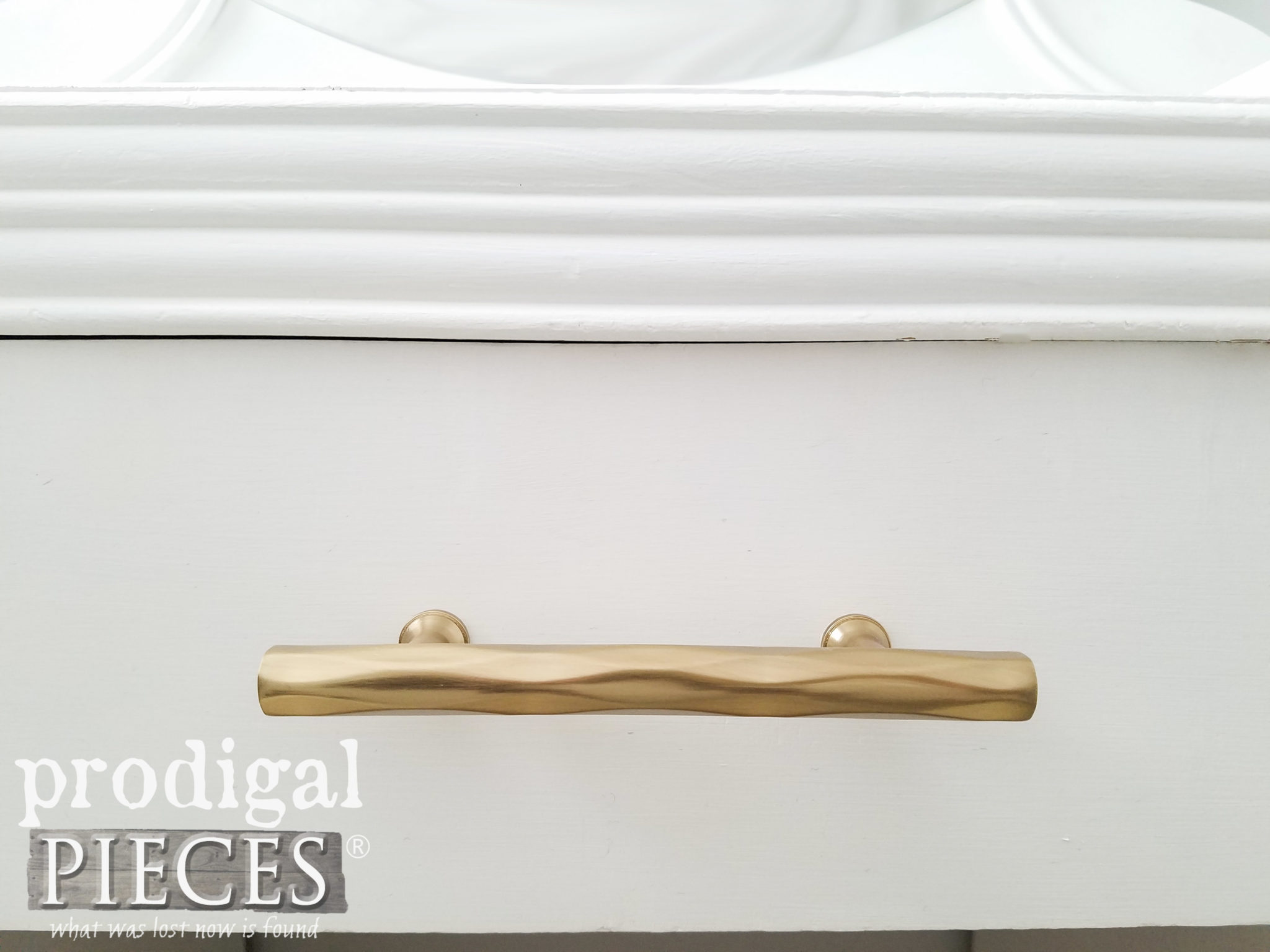 Art Deco Brass Drawer Pulls on Vintage Vanity by Prodigal Pieces | prodigalpieces.com