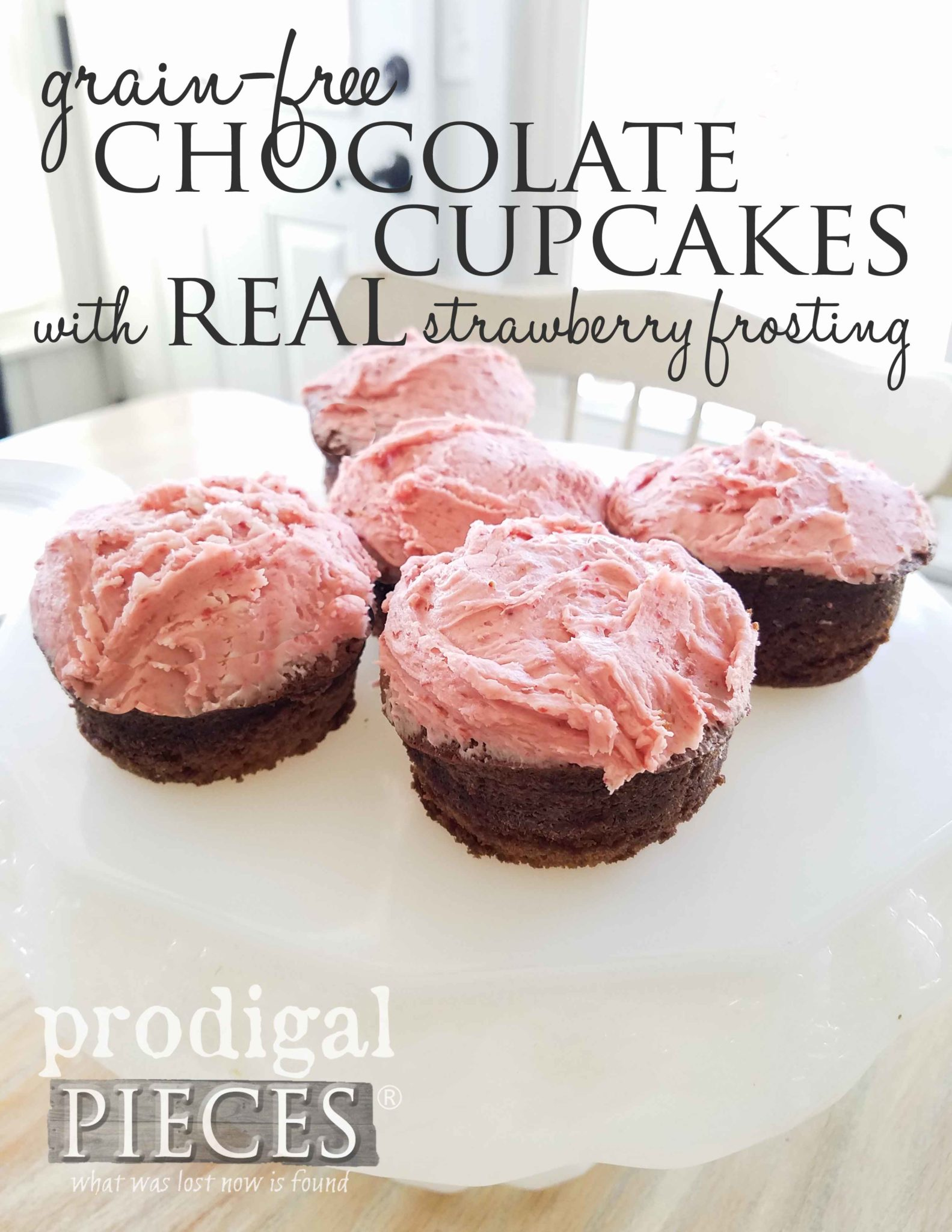 Recipe for delicious grain-free chocolate cupcakes with REAL strawberry frosting by Larissa of Prodigal Pieces. Use it for brownies, sheet cake, trifles, and more. | prodigalpieces.com