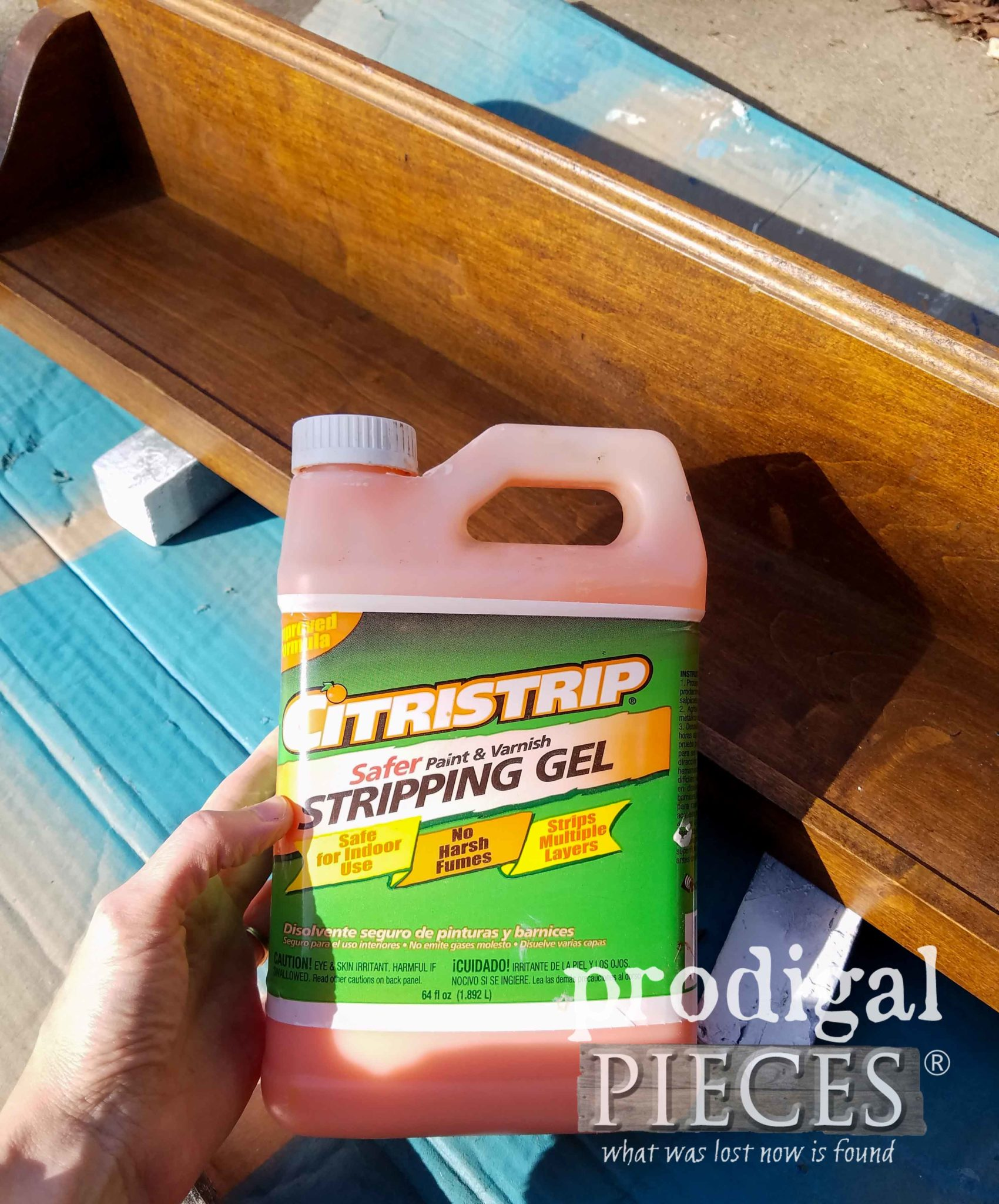 Using CitriStrip to Remove Finish on Wooden Shelf | prodigalpieces.com