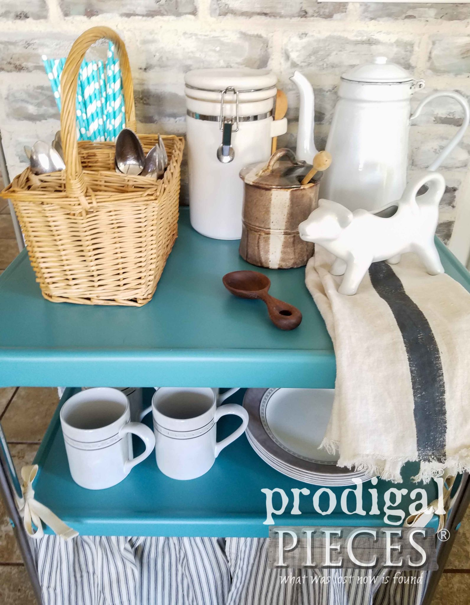 Mini Coffee Bar Made from a Vintage Cosco Serving Cart by Larissa of Prodigal Pieces | prodigalpieces.com