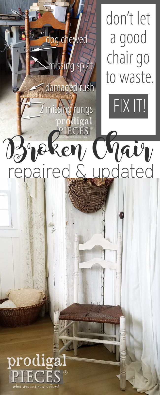 Fantastic! This antique farmhouse chair was needing much TLC. Come see how easy broken chair repair can be and dive in DIY style. Details at Prodigal Pieces | prodigalpieces.com