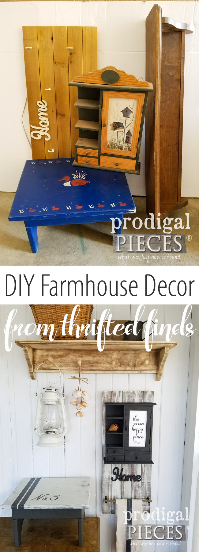 Love farmhouse style, but have no budget? No worries! Head to the thrift store and get your DIY on to create the look you're after. Details at Prodigal Pieces | prodigalpieces.com