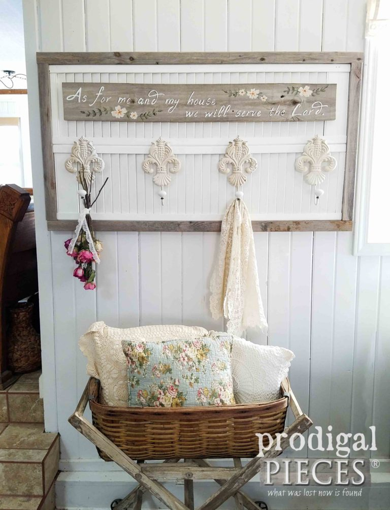 DIY Repurposed Louver Doors Made into Beautiful Reclaimed Wall Art with Coat Rack by Larissa of Prodigal Pieces | prodigalpieces.com