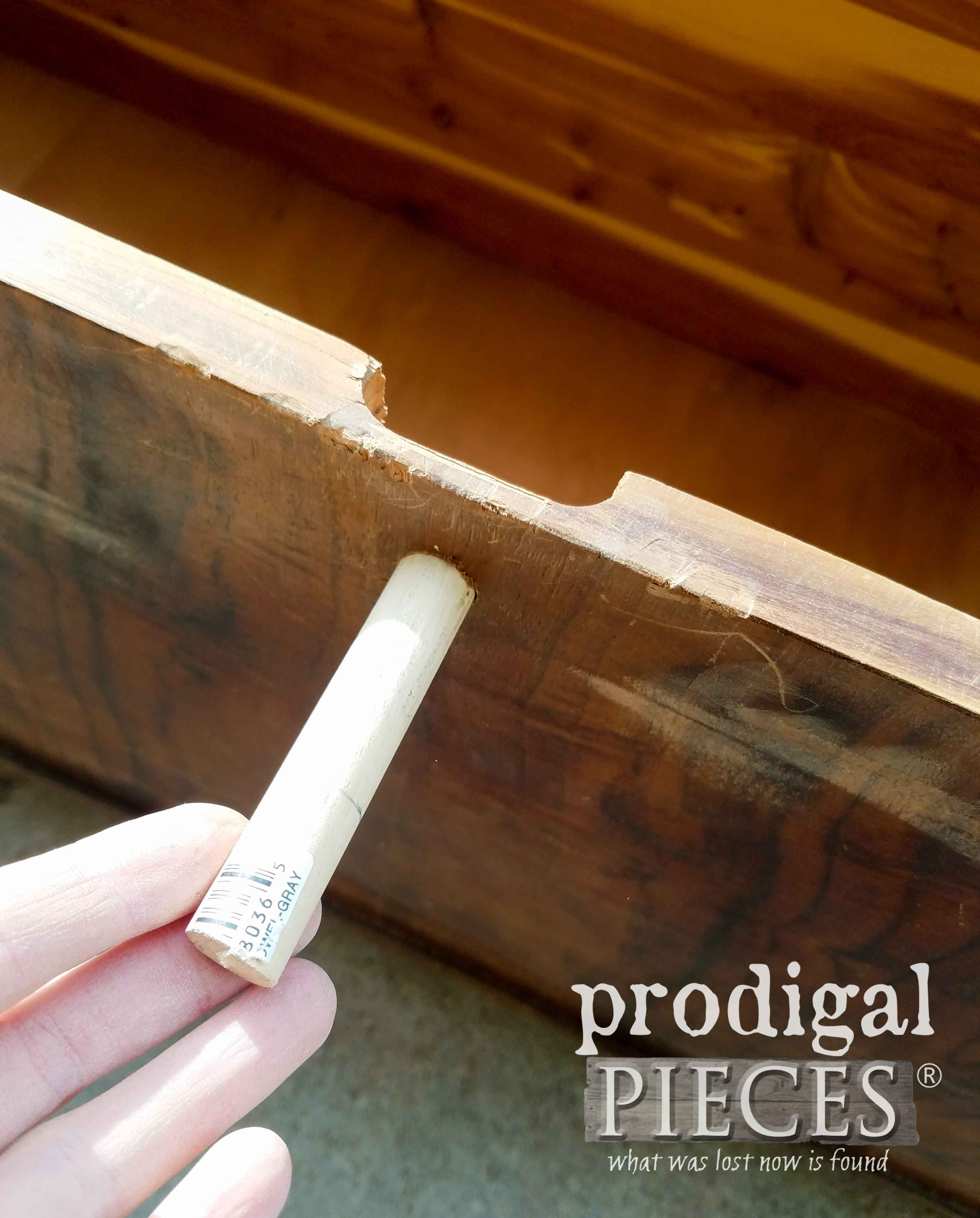Dowel to Fill Lock Hole in Cedar Chest | prodigalpieces.com
