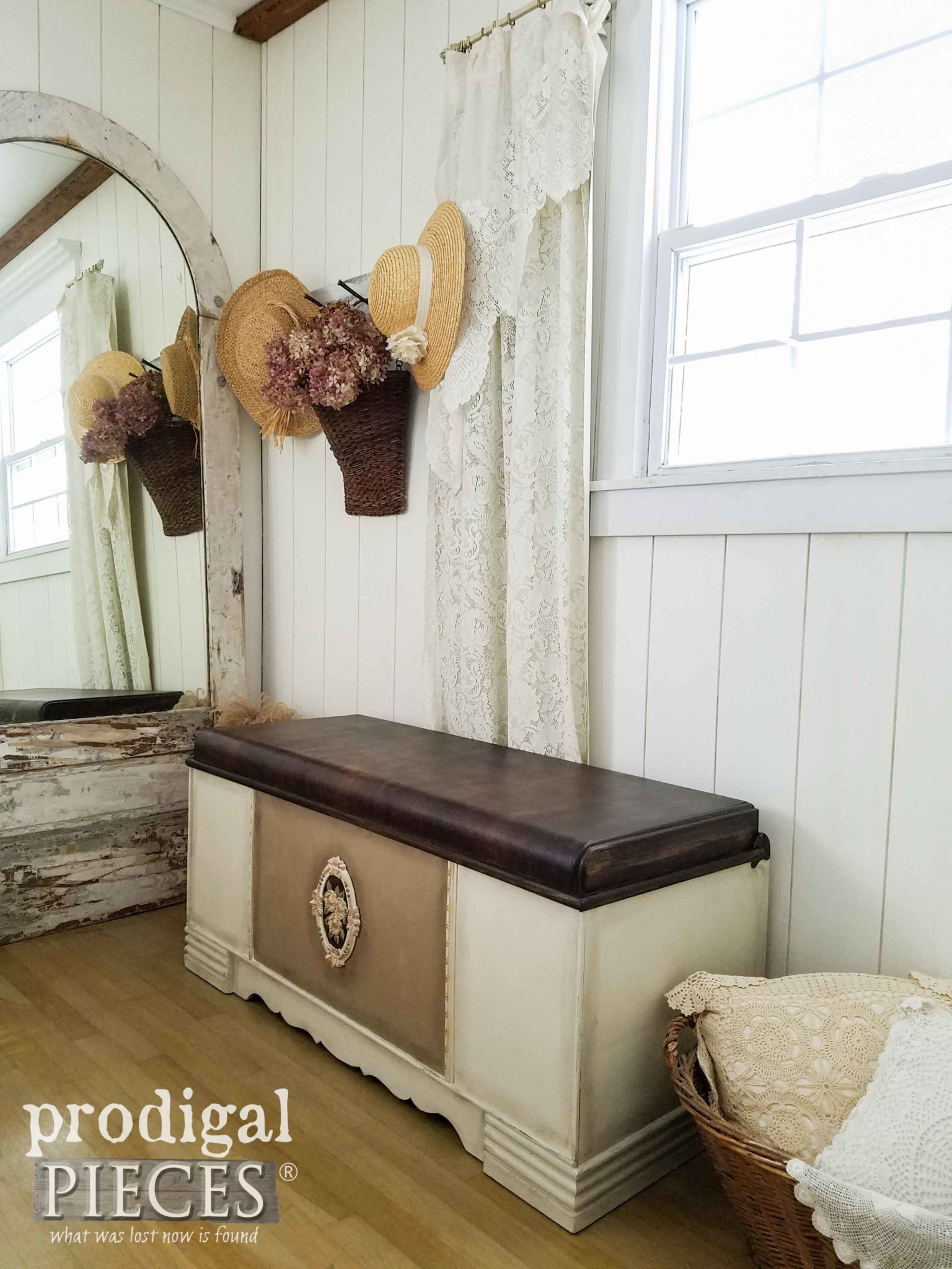 Farmhouse Bedroom with Vintage Waterfall Hope Chest Restored and Renewed by Larissa of Prodigal Pieces | prodigalpieces.com