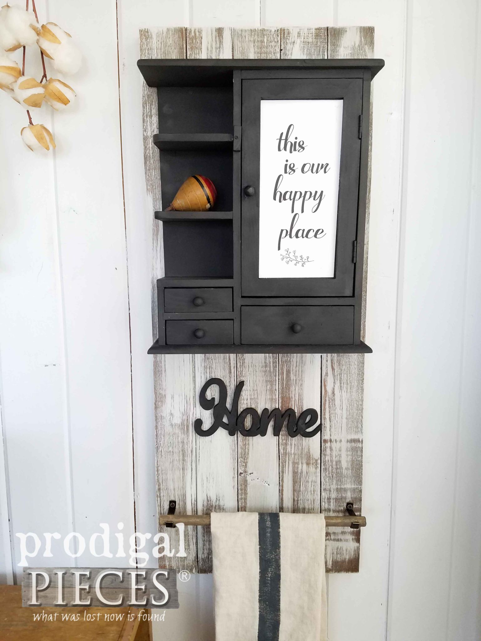 Farmhouse Chic Wall Cubby with Towel Bar created by Larissa of Prodigal Pieces | prodigalpieces.com