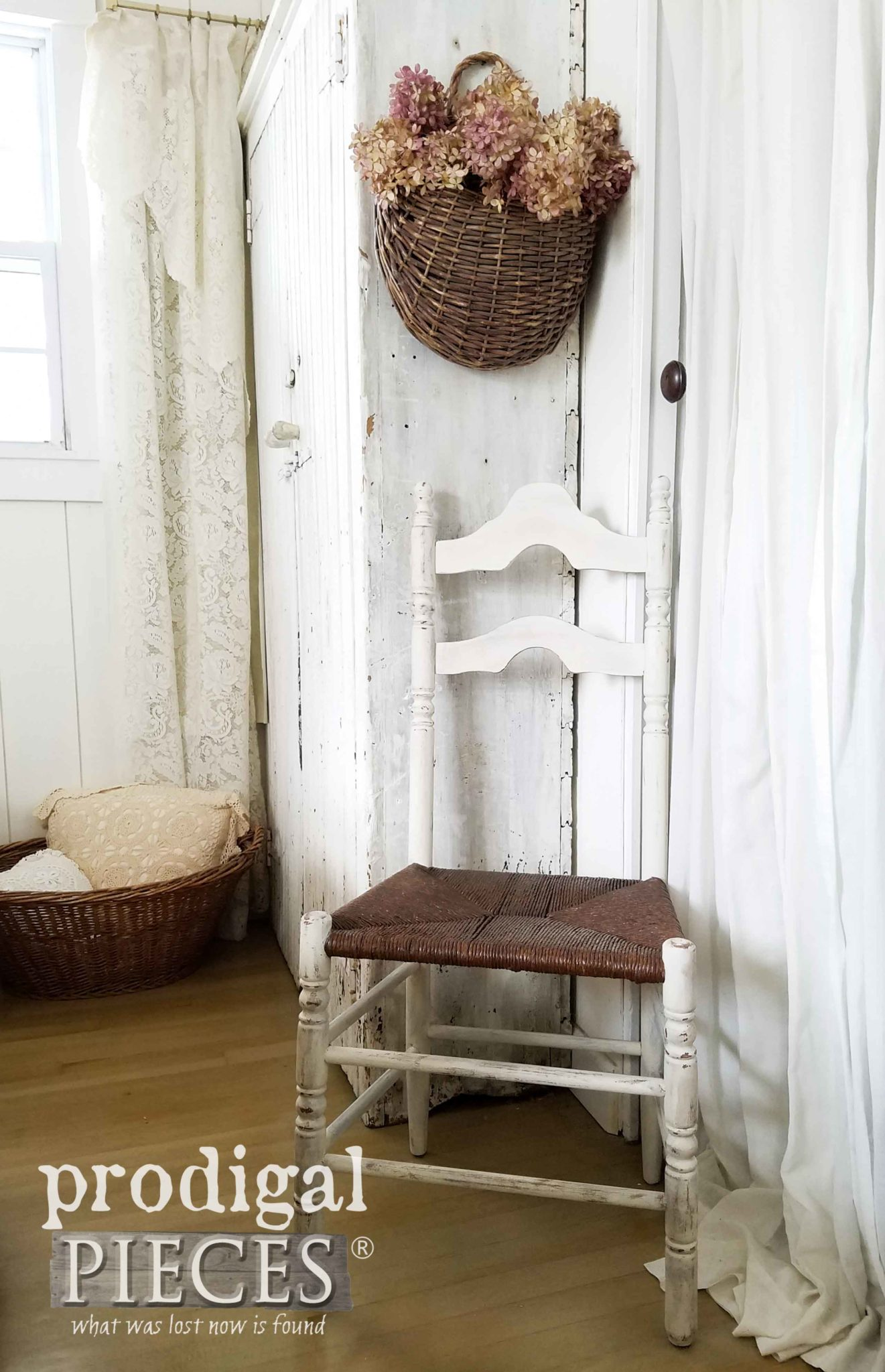 Antique Farmhouse Chair with Rush Seat Given New Life by Larissa of Prodigal Pieces | prodigalpieces.com