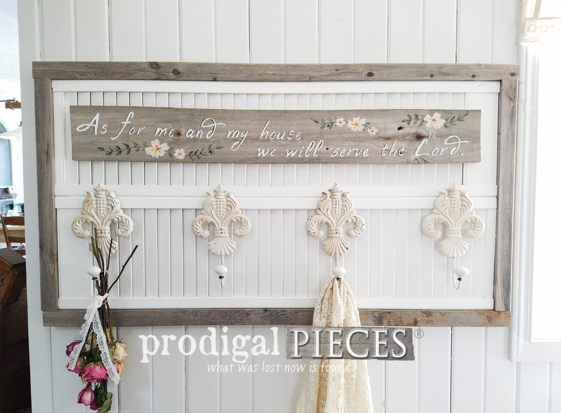 Featured Repurposed Louver Door Wall Art by Larissa of Prodigal Pieces | prodigalpieces.com