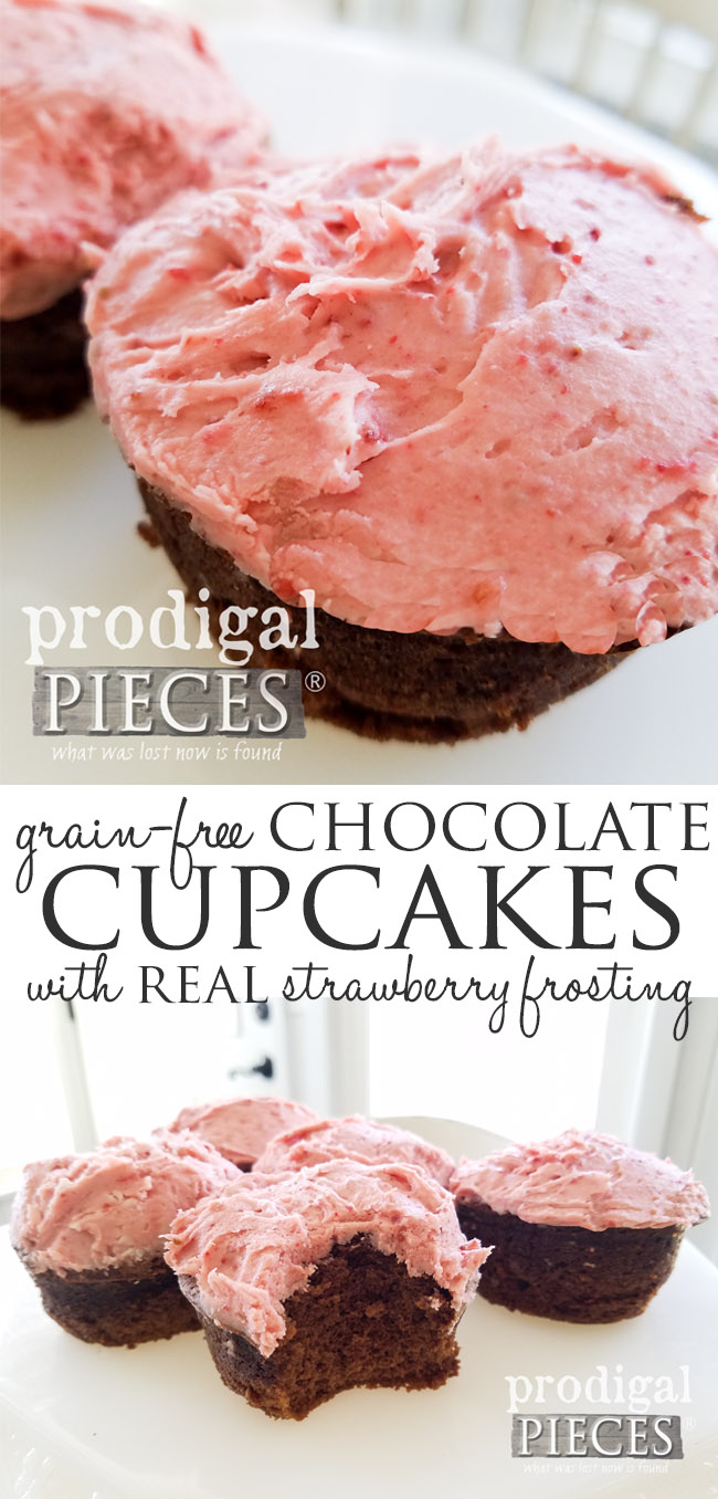 Super delicious grain-free chocolate cupcakes with REAL strawberry buttercream frosting. No food coloring, no fillers, just plain YUMMY. Recipe at Prodigal Pieces | prodigalpieces.com
