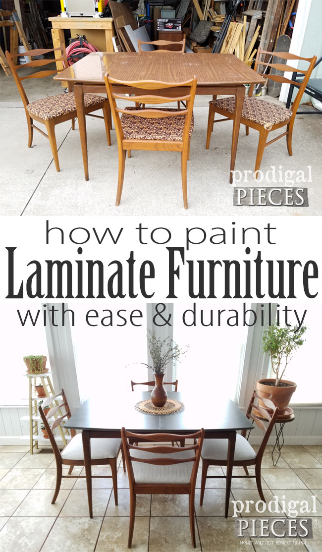 So easy! It really is possible to paint laminate furniture with easy & durability. Let Larissa of Prodigal Pieces show you to to paint laminate furniture in her step-by-step tutorial. Head to prodigalpieces.com