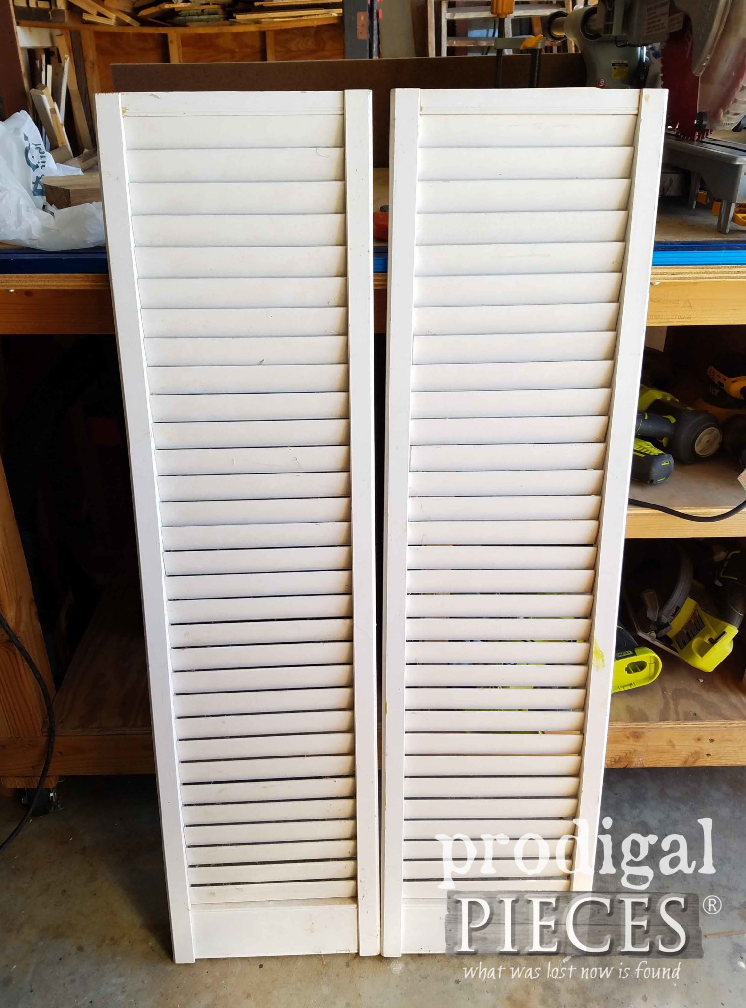 Leftover Louver Doors Before Repurposing by Prodigal Pieces | prodigalpieces.com