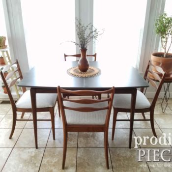 Mid Century Modern Dining Table Set with Four Upholstered Chairs by Larissa of Prodigal Pieces | prodigalpieces.com