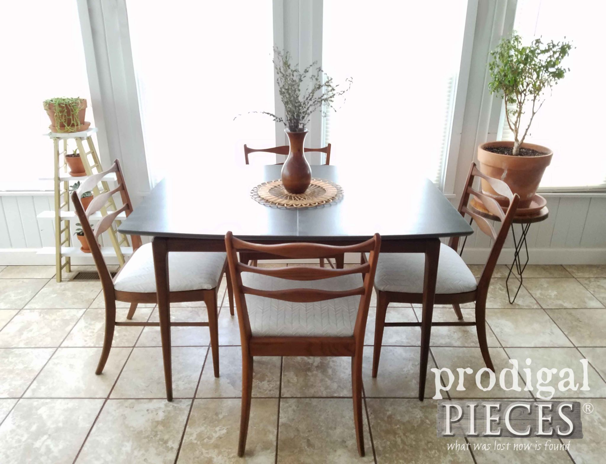Mid Century Modern Dinnette Set with Four Upholstered Chairs by Larissa of Prodigal Pieces | prodigalpieces.com