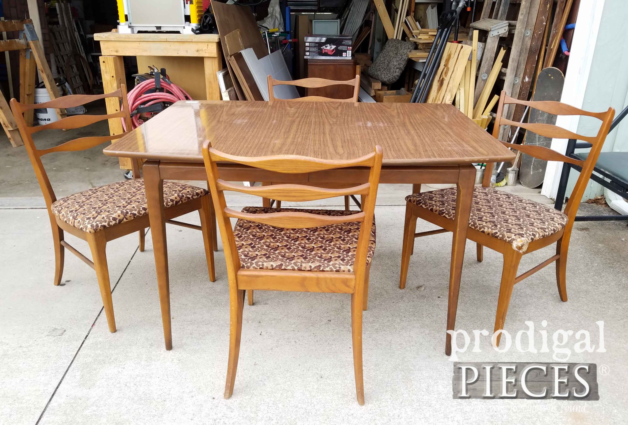 Mid Century Modern Dining Table Before Makeover by Prodigal Pieces | prodigalpieces.com
