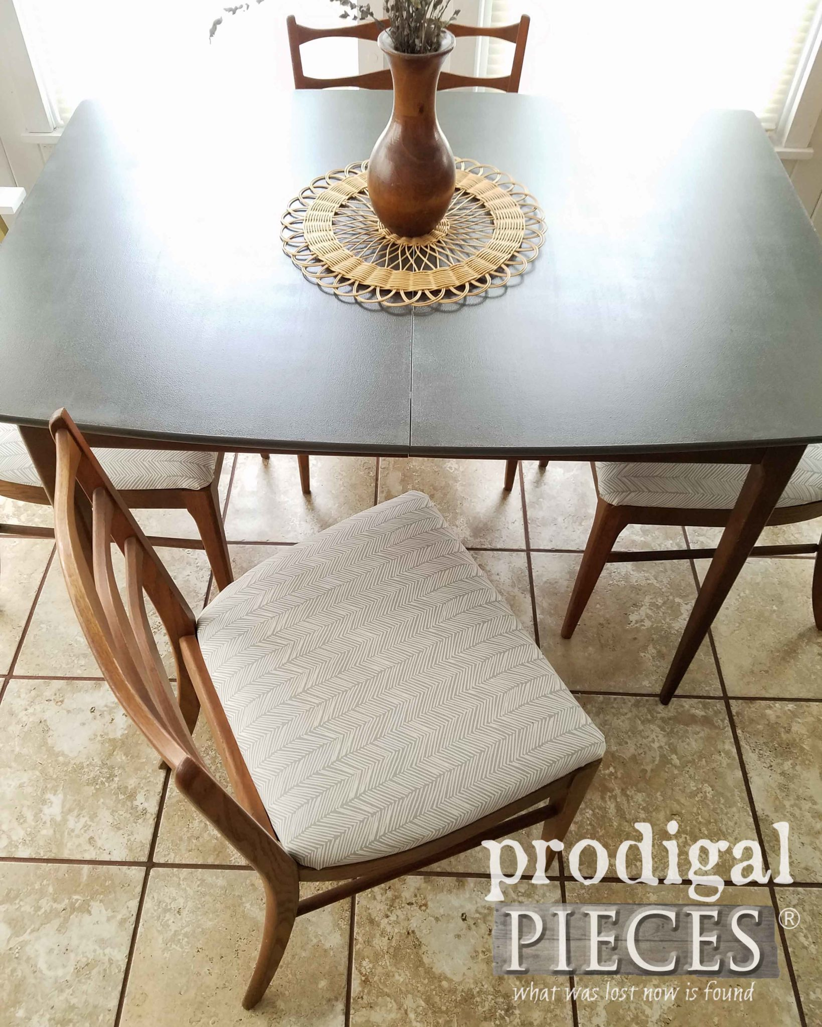 Mid Century Modern Dining Chair with Updated Modern Chic Fabric | How to Paint Laminate Furniture by Larissa of Prodigal Pieces | prodigalpieces.com