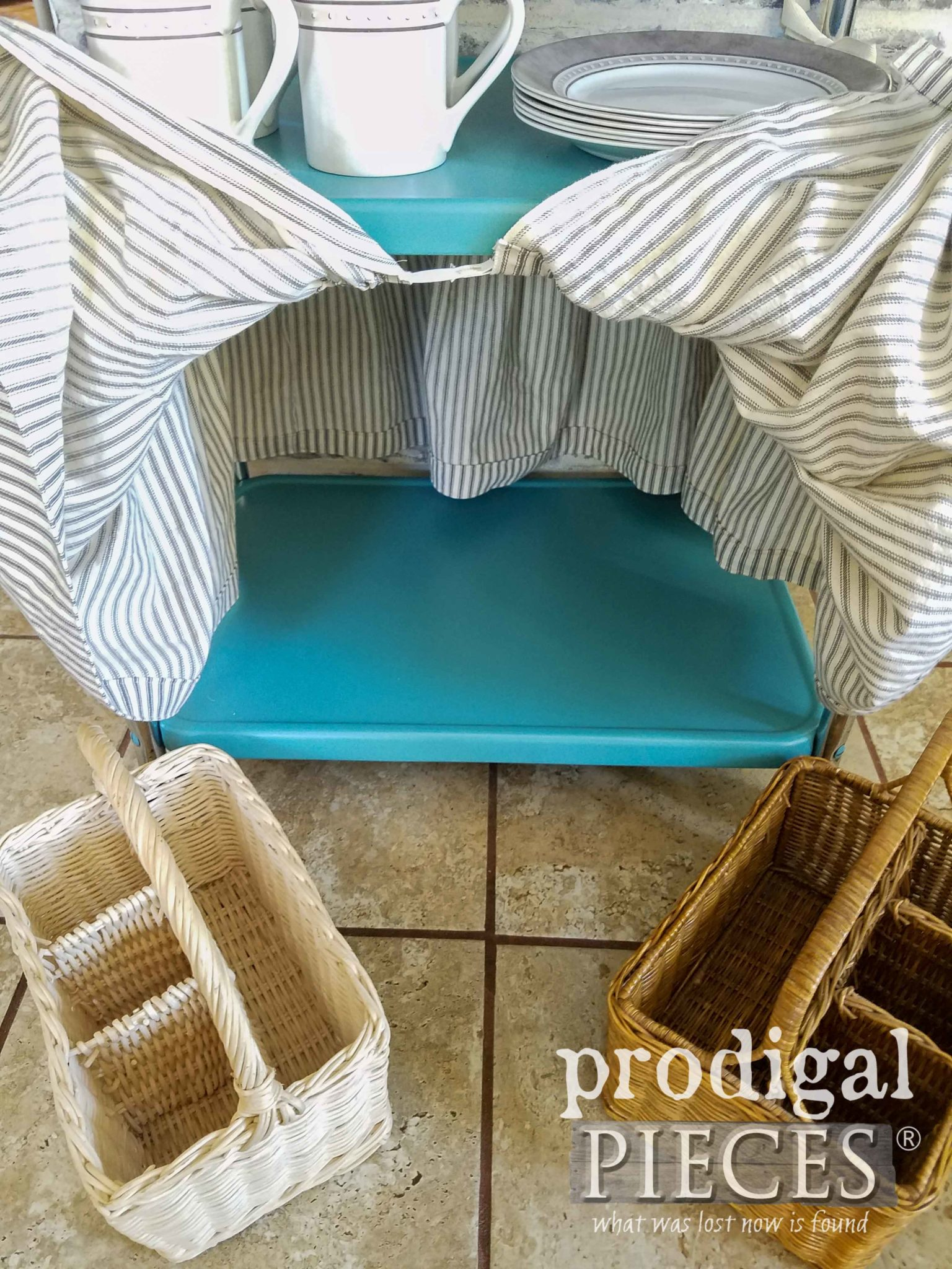 Farmhouse Style Serving Cart with Baskets at Prodigal Pieces | prodigalpieces.com