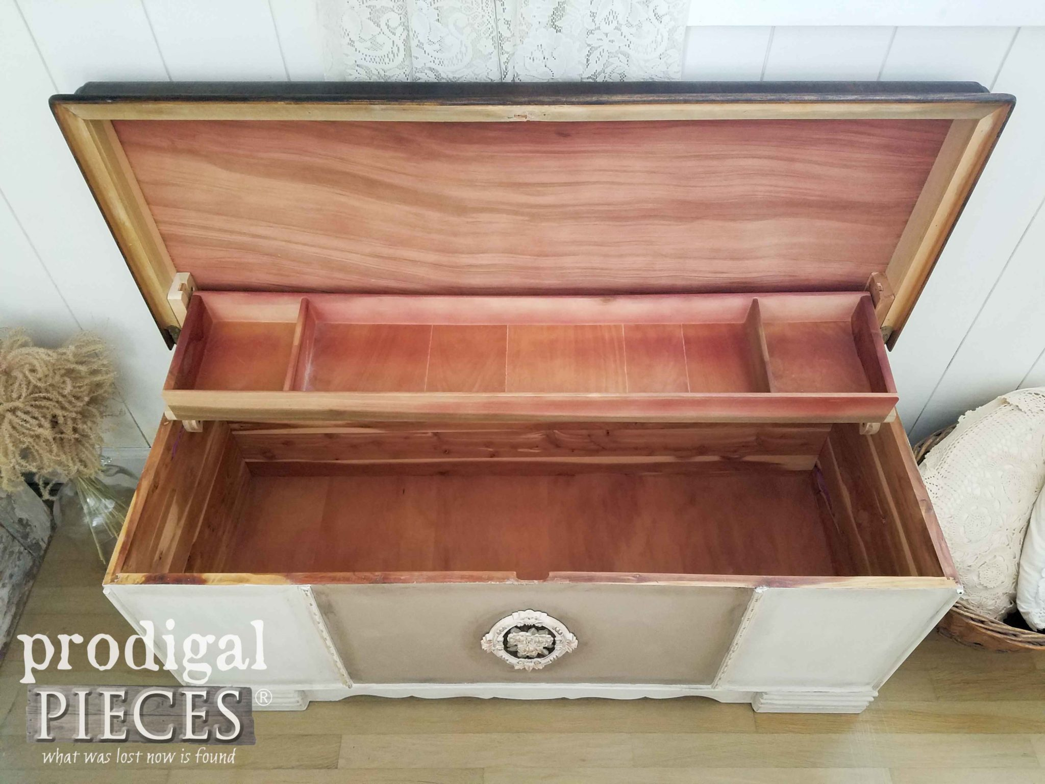 Open Vintage Cedar Blanket Hope Chest with Tray | prodigalpieces.com