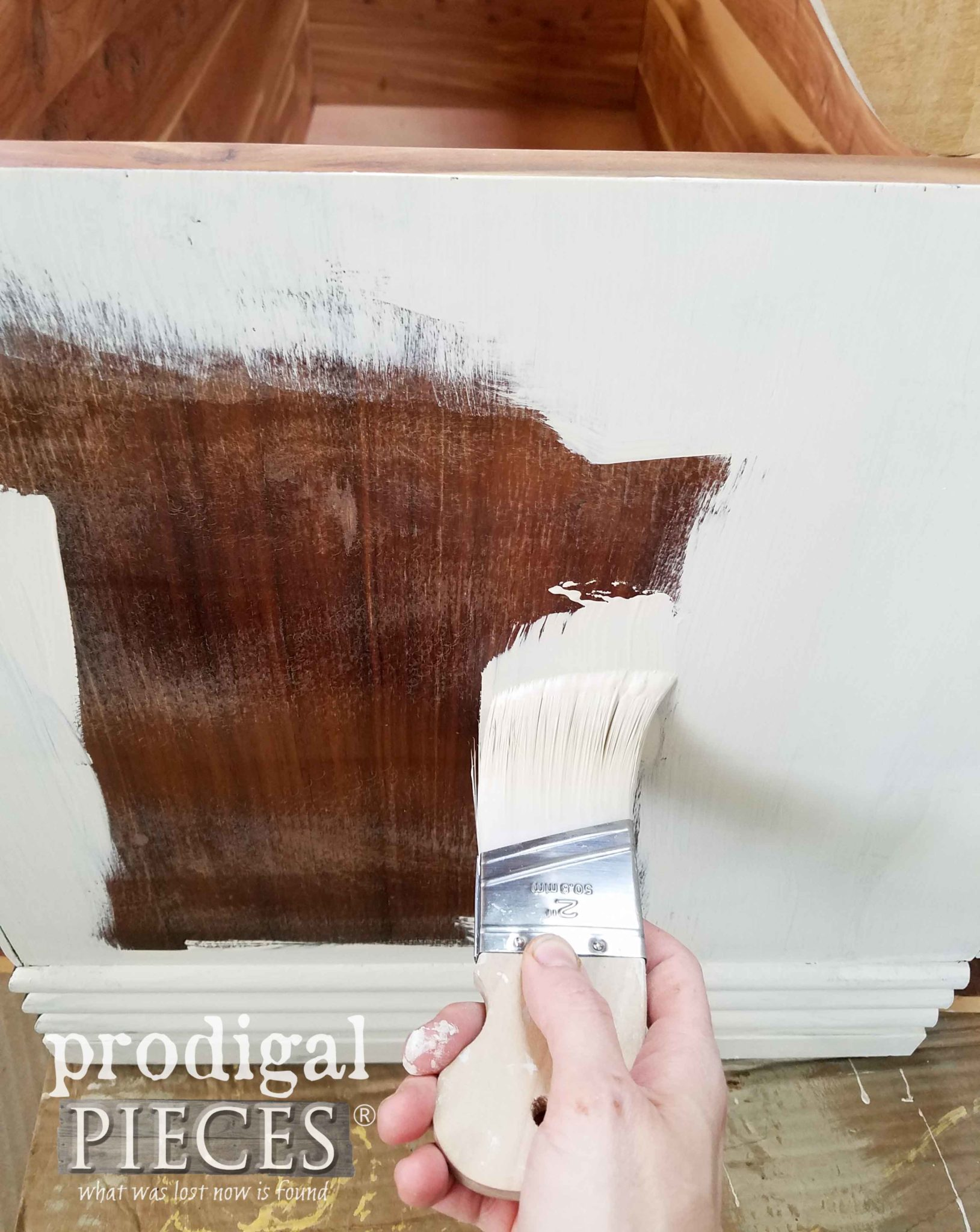 Painting Hope Chest with Dixie Belle Dropcloth Natural Chalk Mineral Paint by Larissa of Prodigal Pieces | prodigalpieces.com