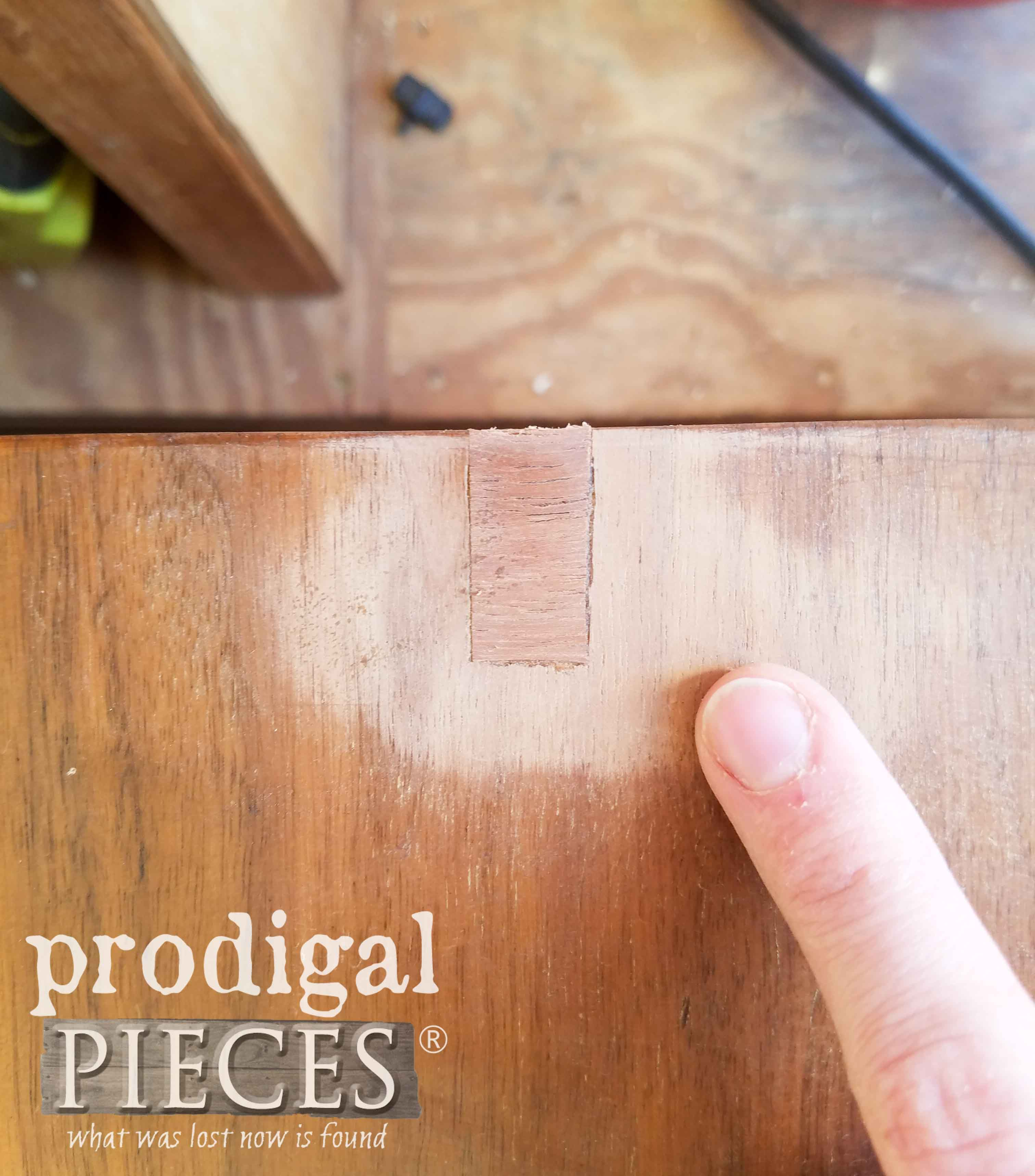 Repaired Veneer on Waterfall Hope Chest | prodigalpieces.com