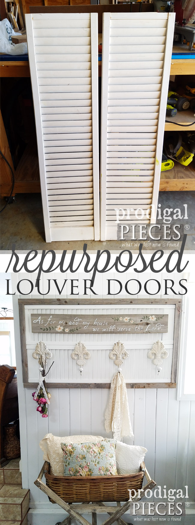 Who would have thought repurposed louver doors could look so good? Larissa of Prodigal Pieces made a functional and stylish coat or towel rack perfect for your home. Come get the DIY details at Prodigal Pieces | prodigalpieces.com