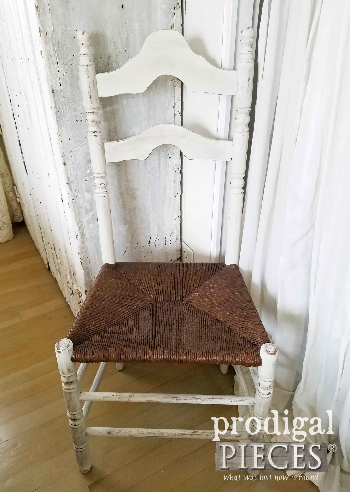 Farmhouse Chair with Rush Seat Repaired and Updated by Larissa of Prodigal Pieces | prodigalpieces.com